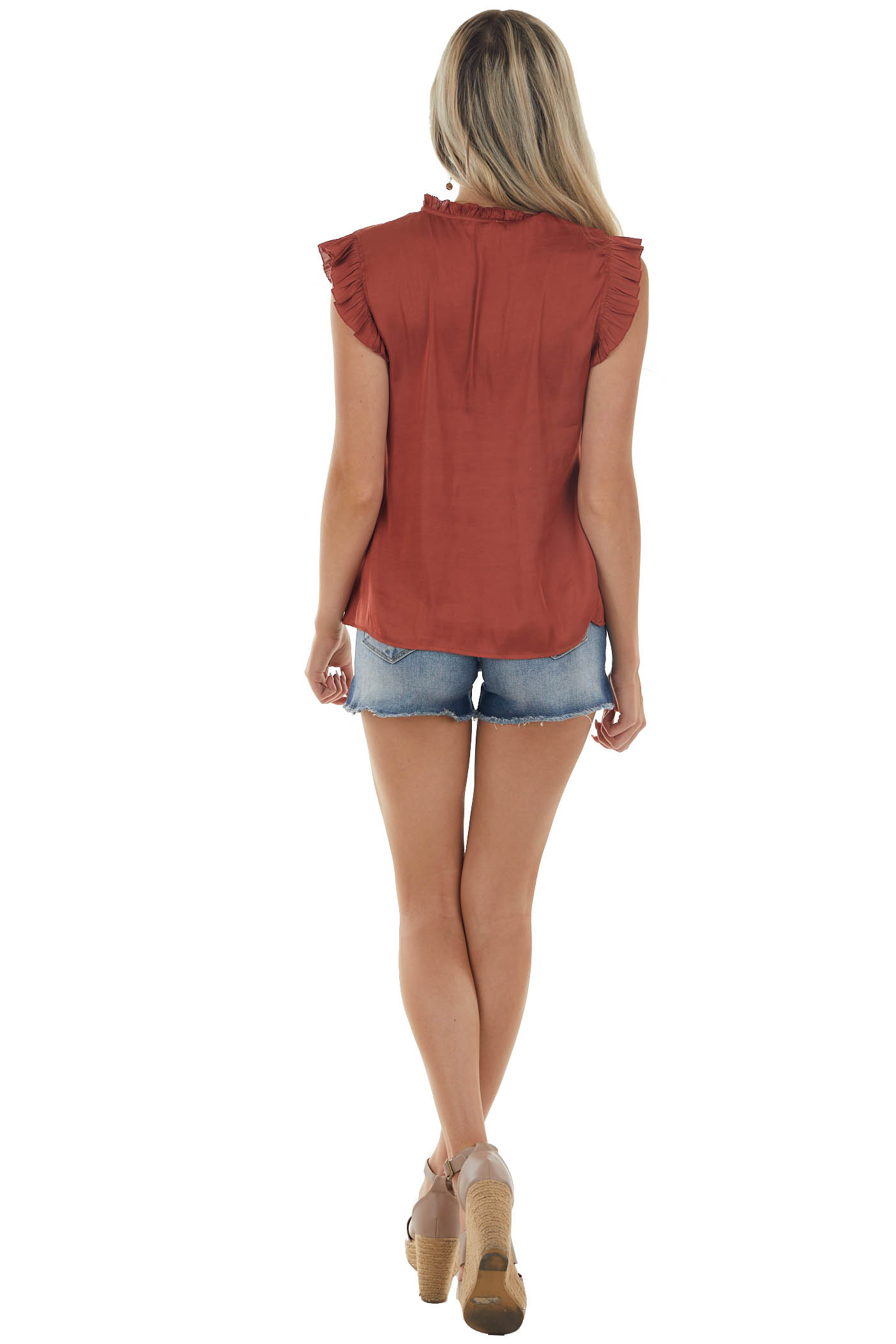 Sienna V Neck Peasant Style Ruffle Detail Top