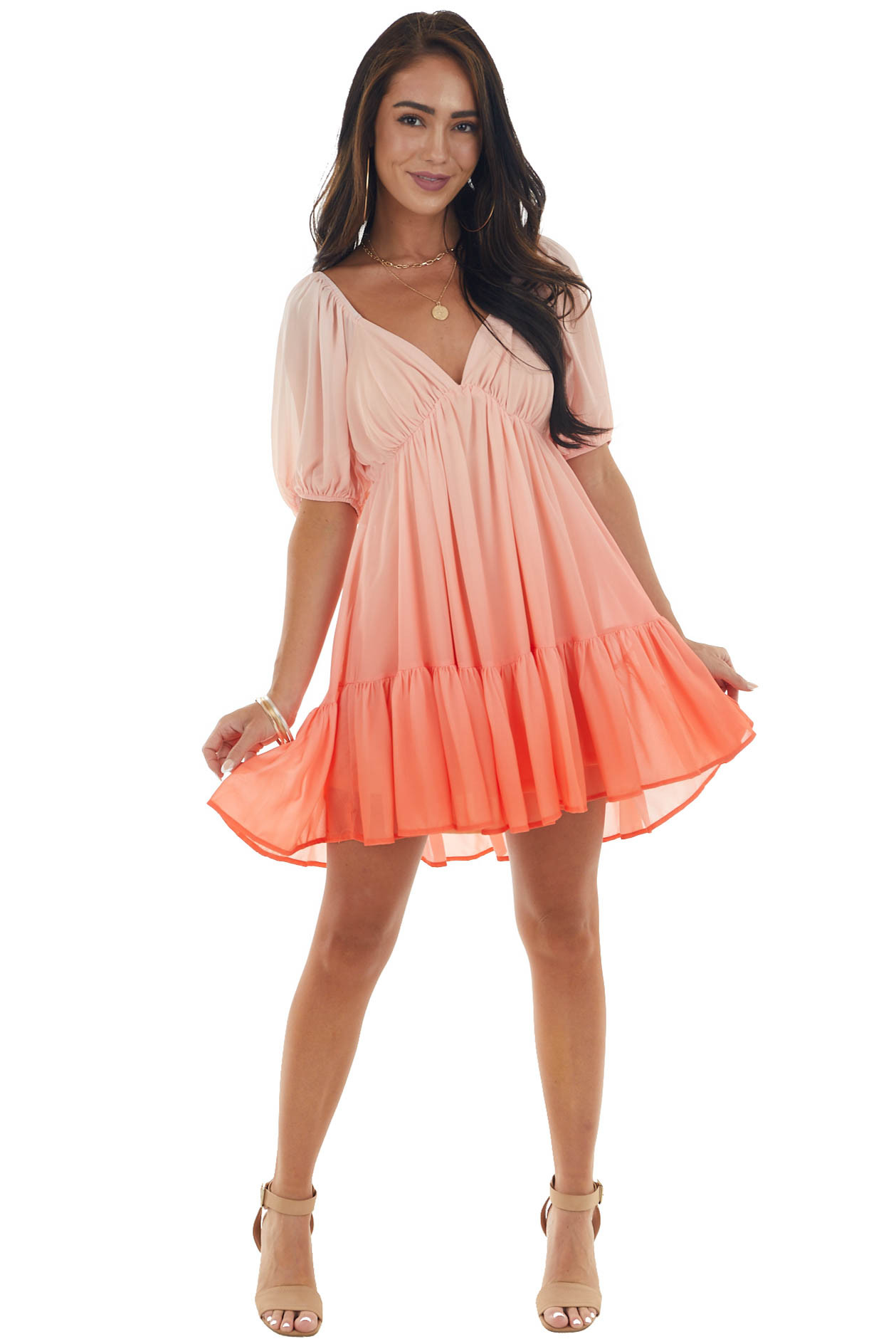 Coral Ombre Puff Sleeve Babydoll Short Dress