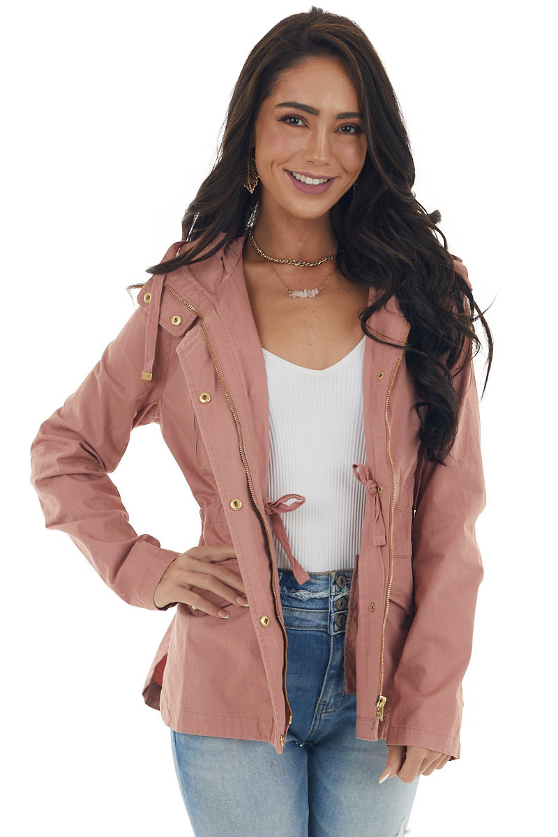 Dark Blush Utility Jacket with Hood and Gold Button Details
