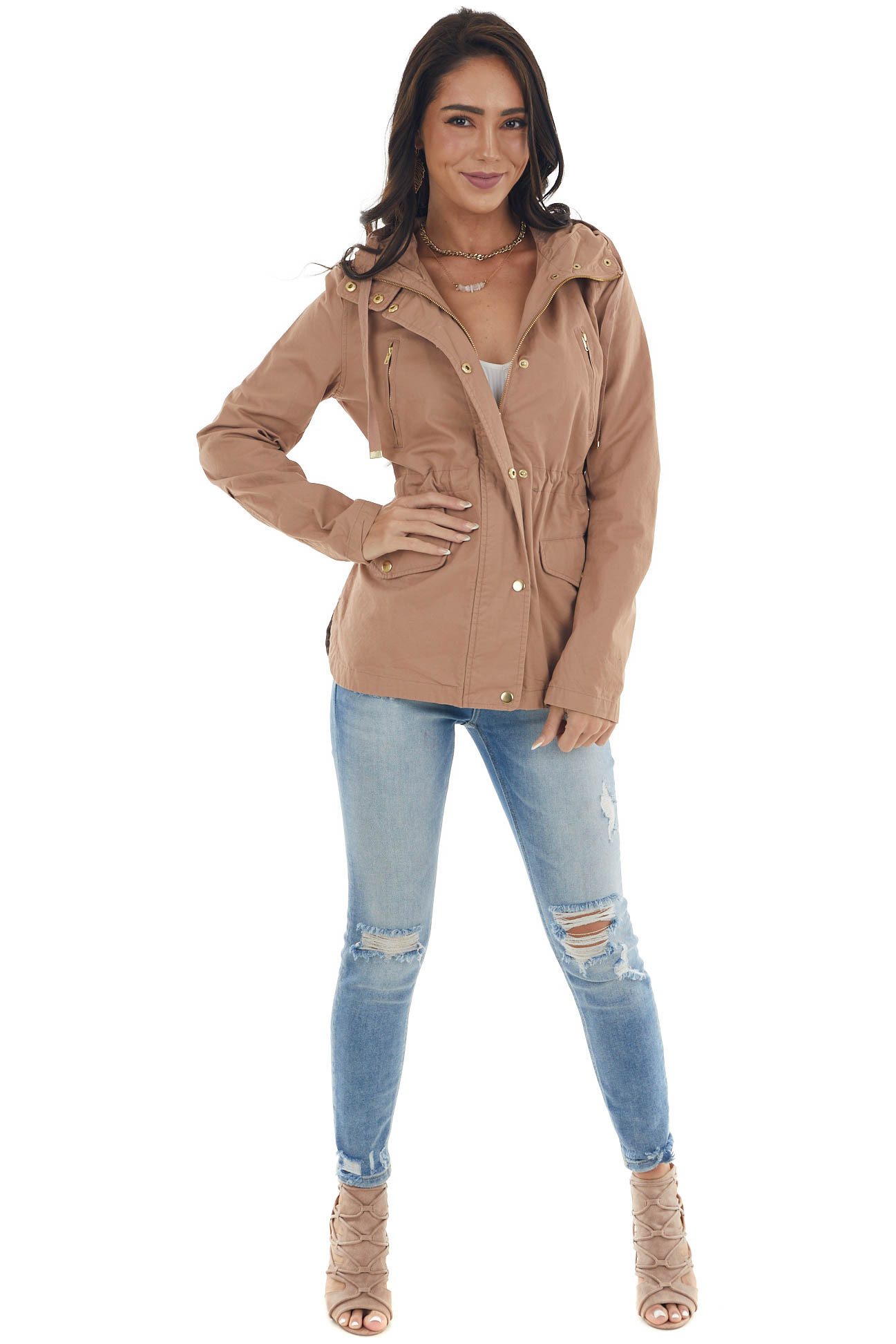 Latte Utility Jacket with Hood and Gold Button Details
