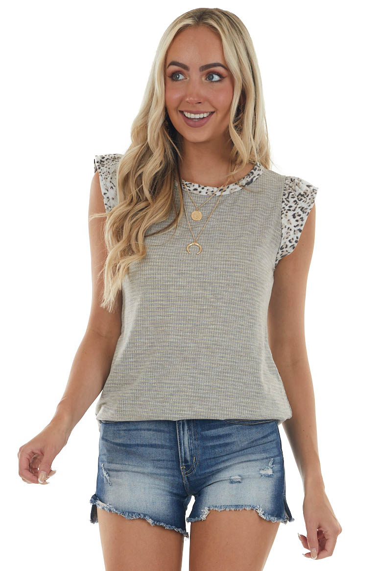 Grey Small Plaid and Leopard Print Knit Top