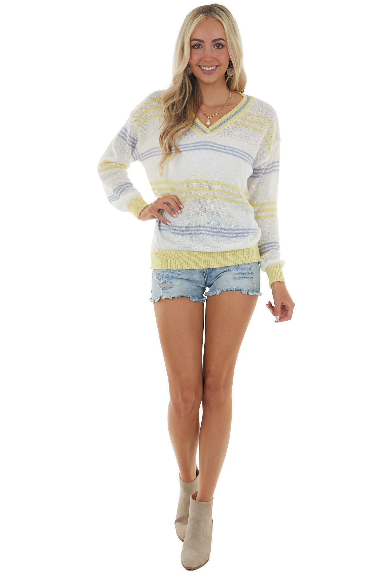 Ivory Multicolor Striped Loose Knit Sweater