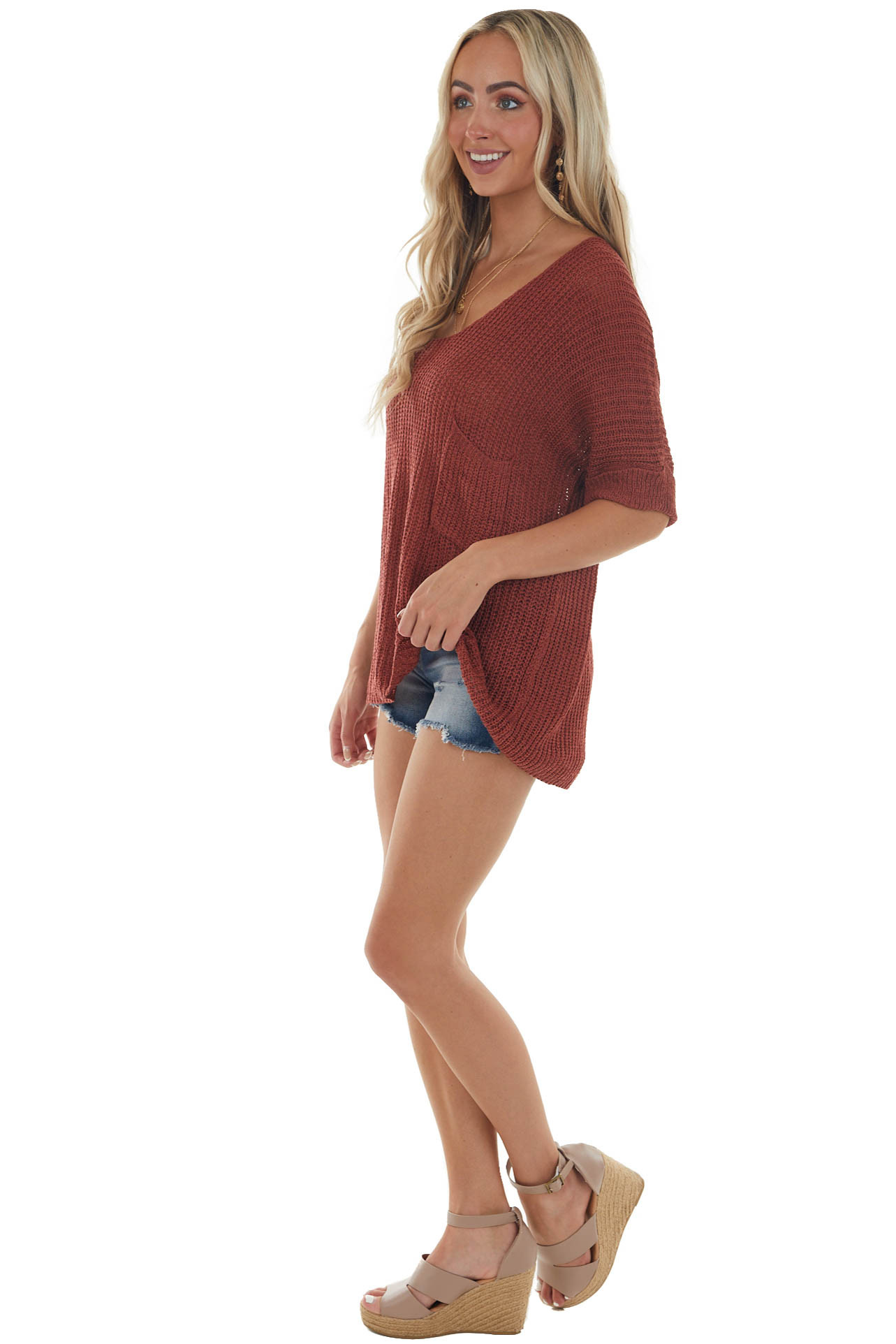 Rust Rolled Cuff Loose Knit Top with Pocket