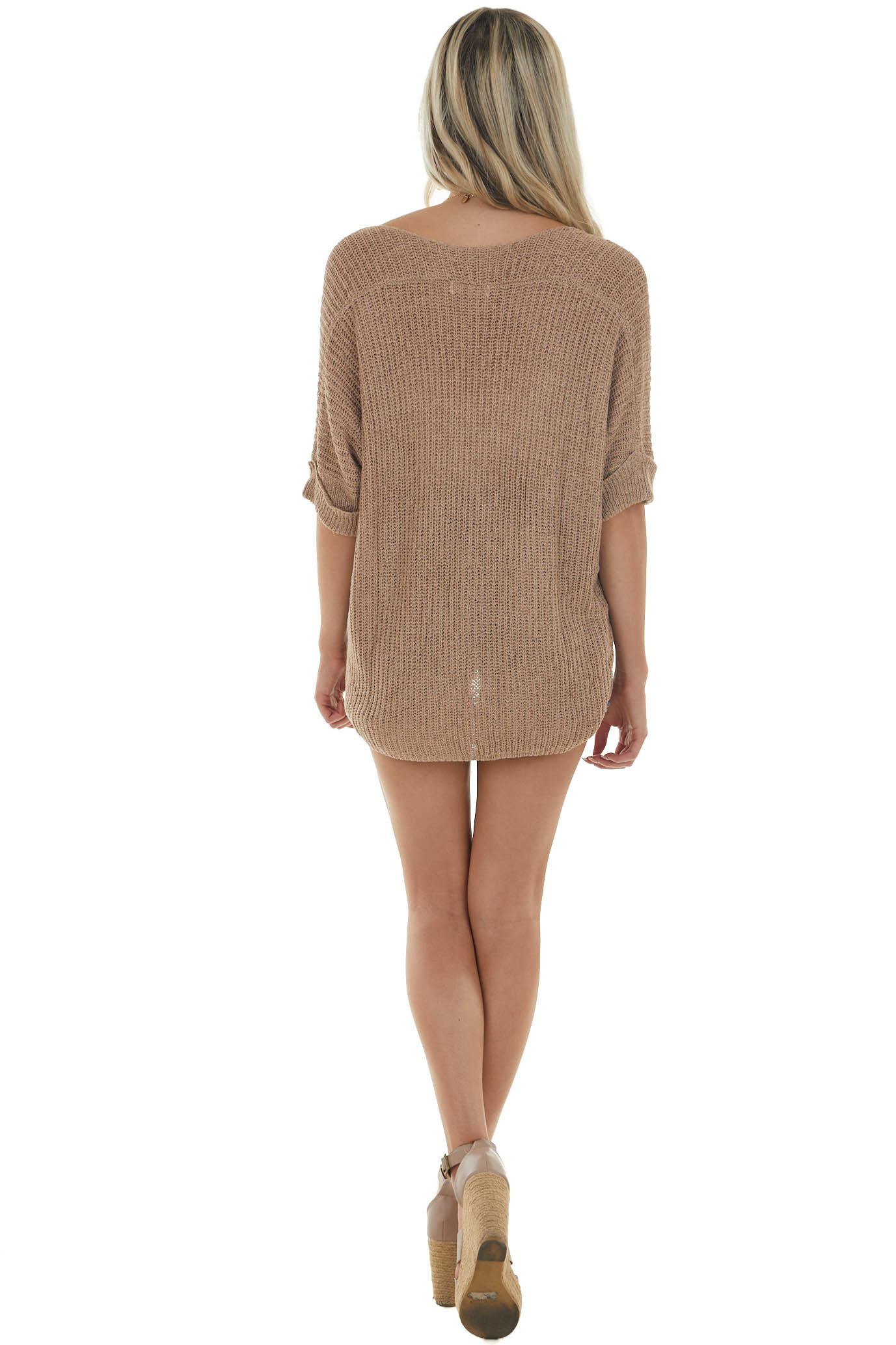 Taupe Rolled Cuff Loose Knit Top with Pocket