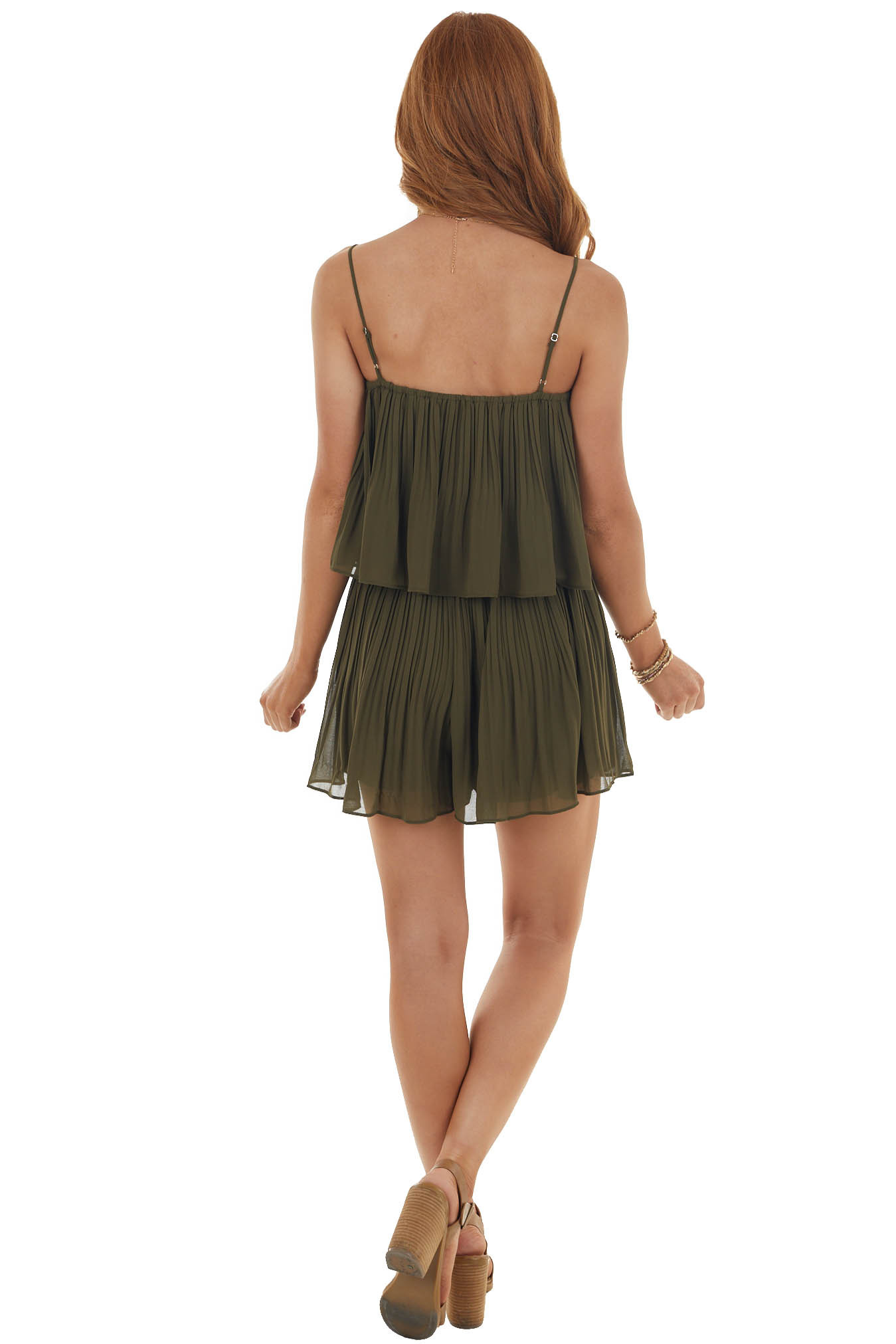 Willow Sleeveless Pleated Overlaying Flowy Fitted Romper