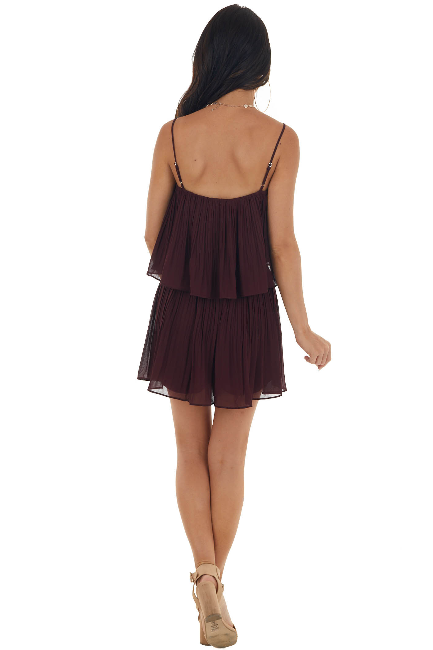 Eggplant Sleeveless Pleated Overlaying Flowy Fitted Romper