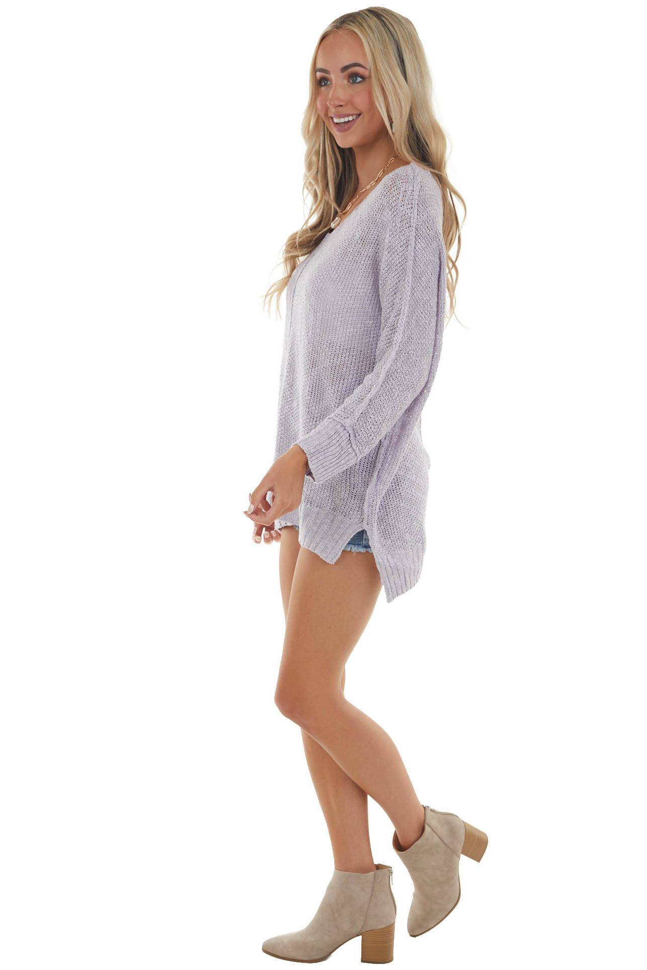 Lavender Knit Lightweight Sweater with Cuffed Long Sleeves