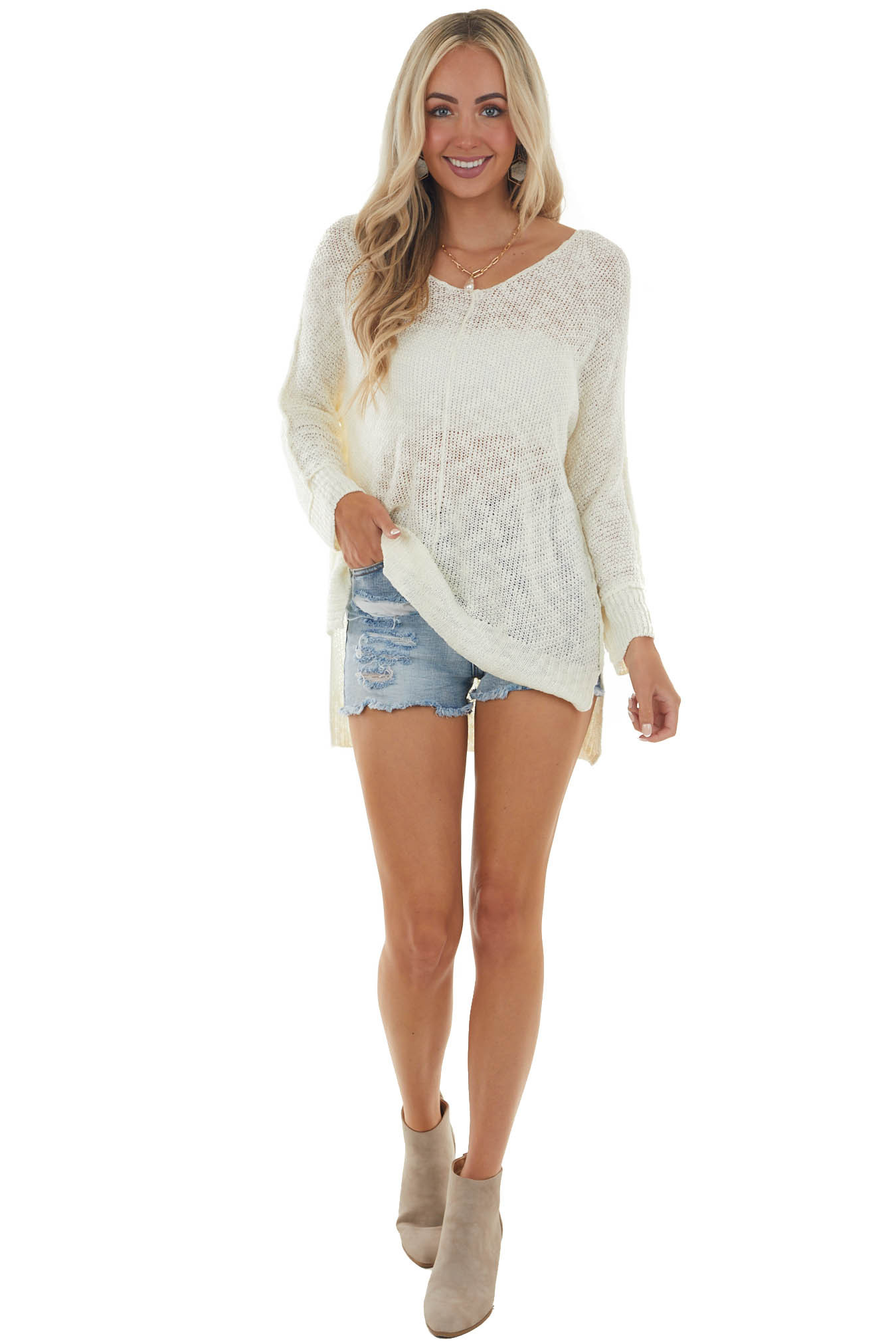 Cream Knit Lightweight Sweater with Cuffed Long Sleeves