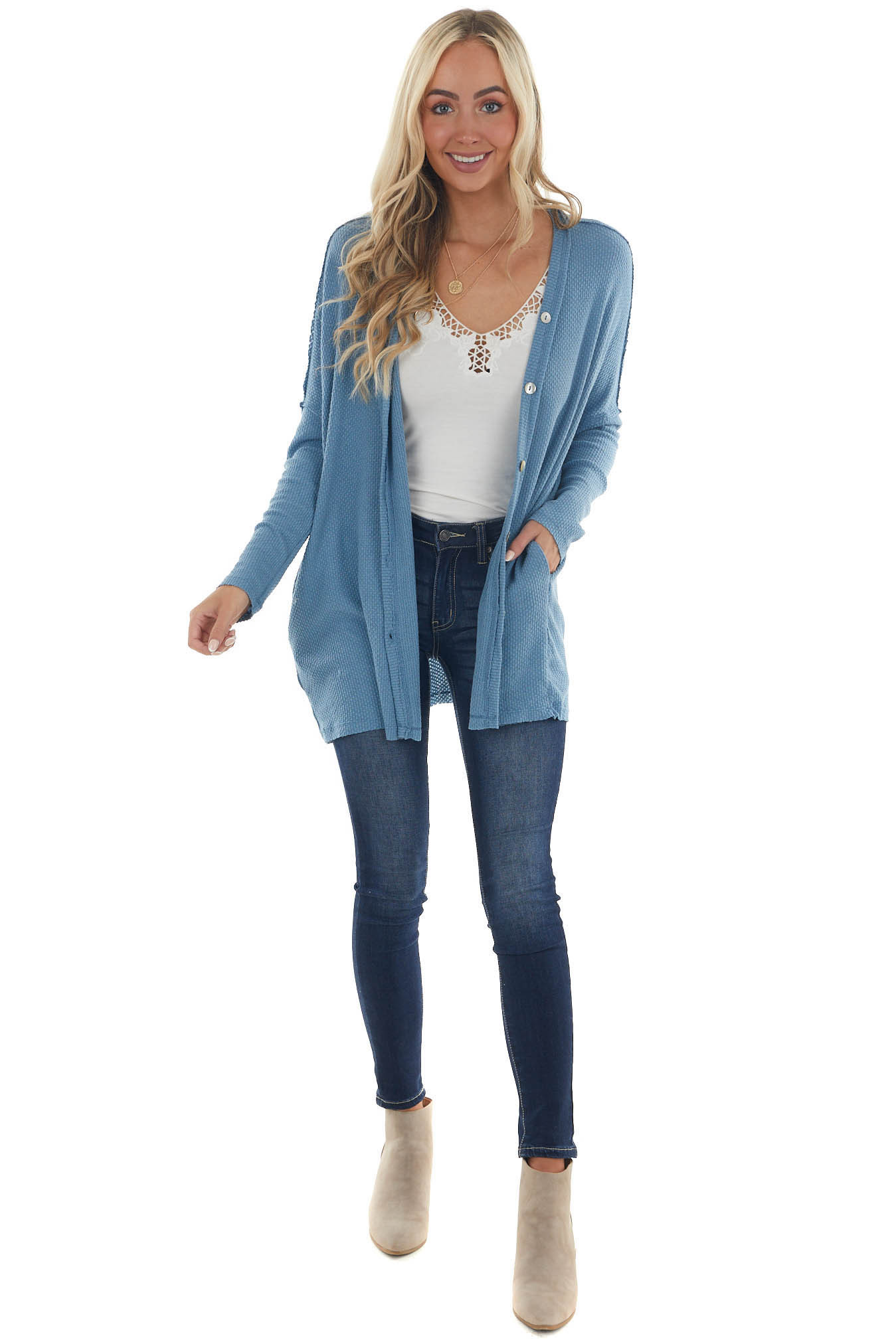 Ocean Button Up Knit Cardigan with Pockets