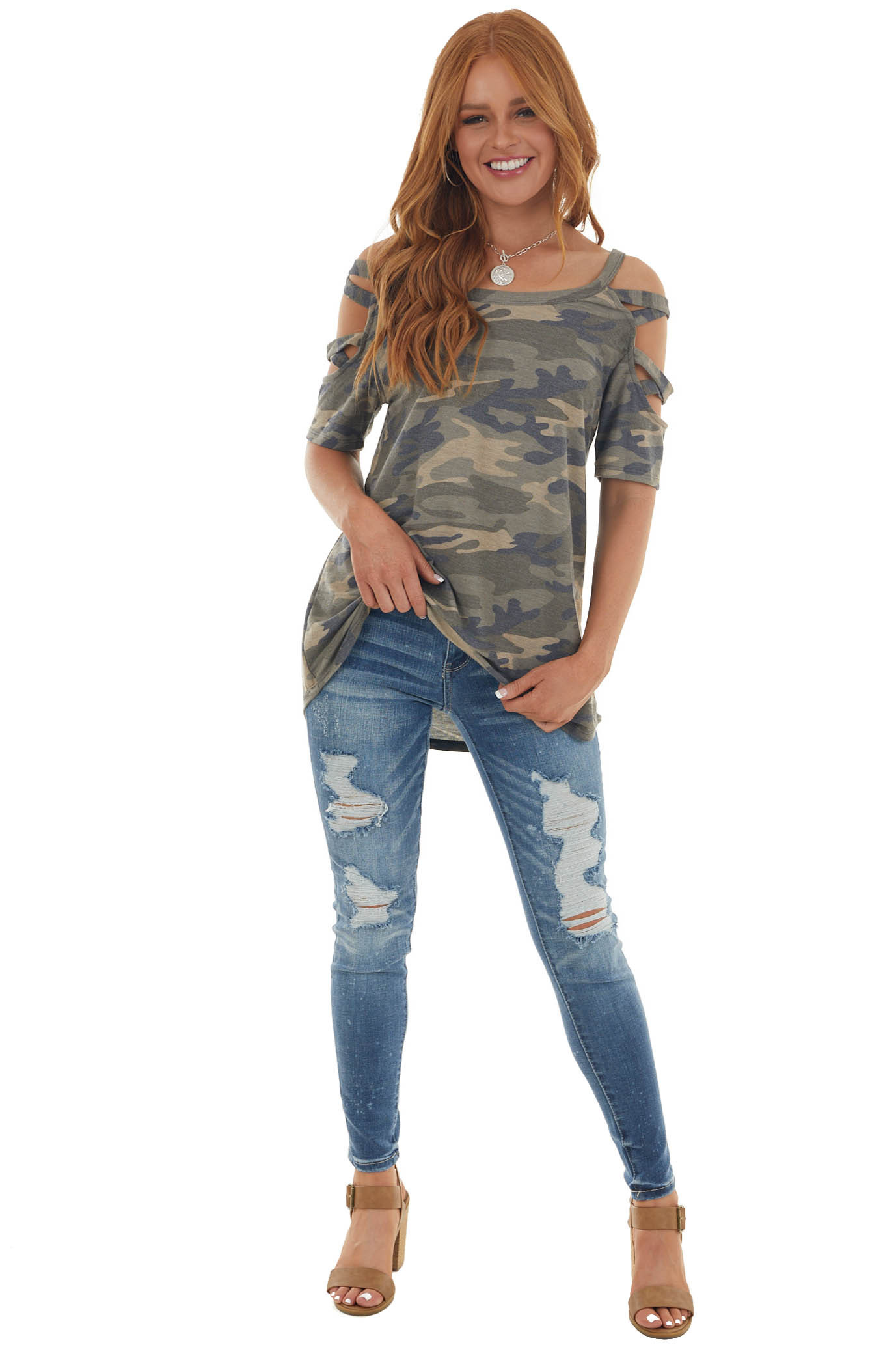 Olive Camo Print Knit Top with Cut Out Sleeves