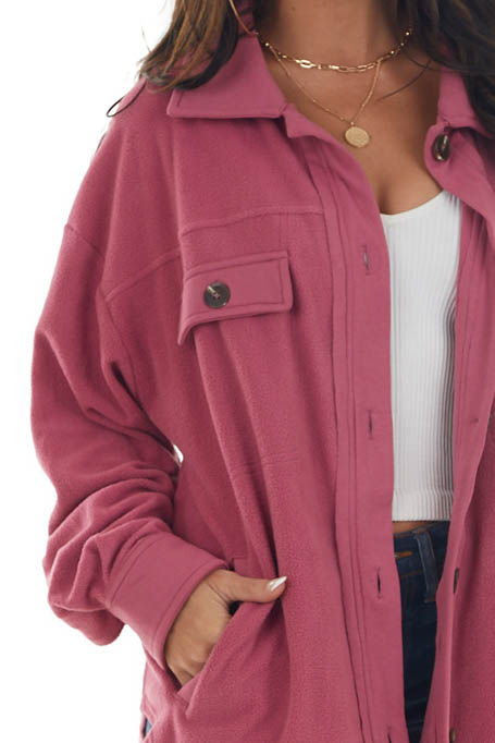 Mulberry Soft Fleece Collared Button Up Jacket
