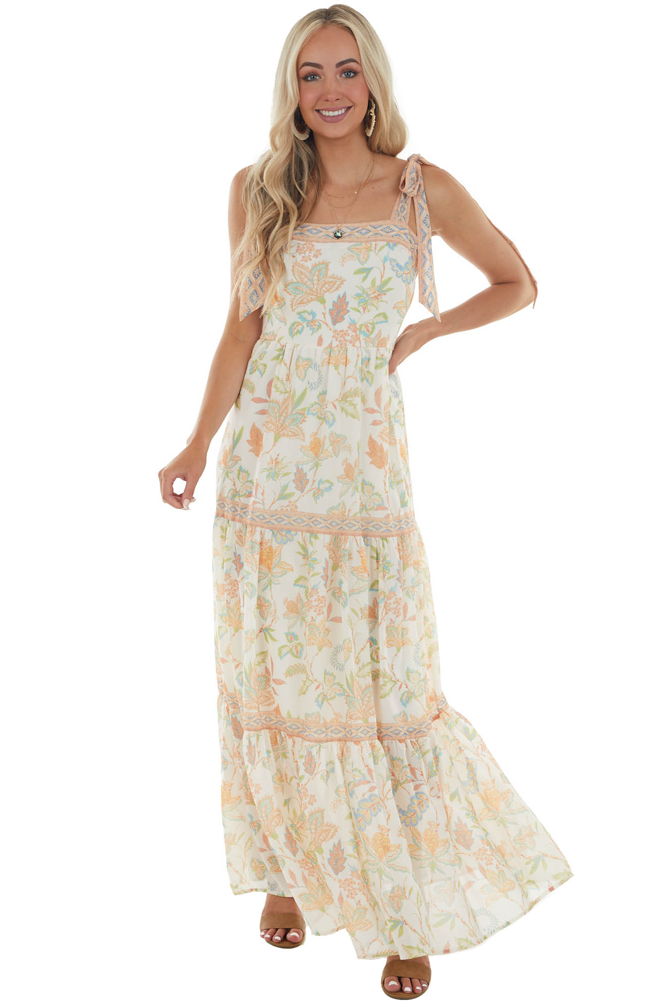 Ivory Floral Sleeveless Tiered Maxi Dress