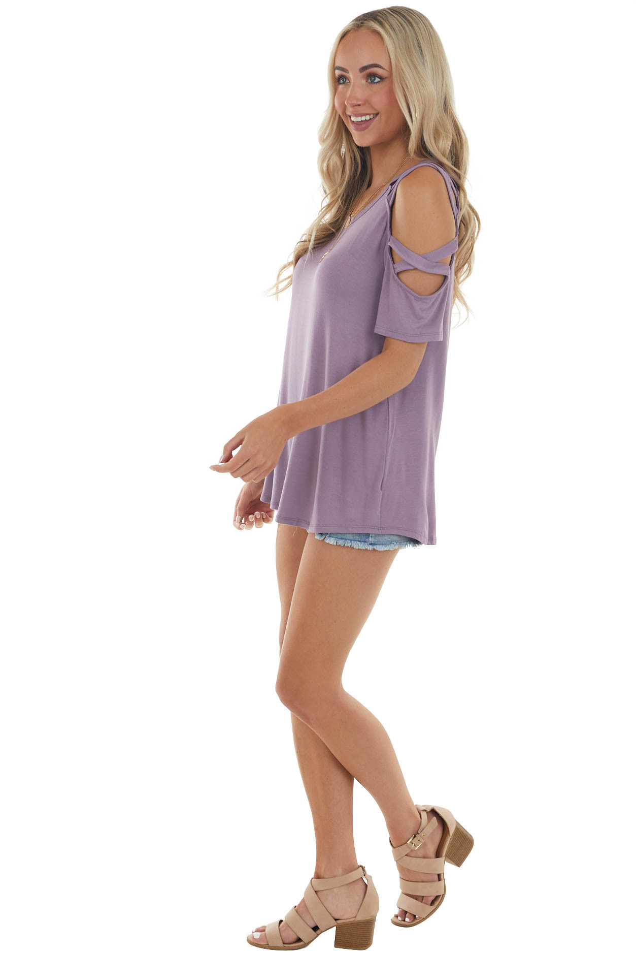 Lavender Knit Top with Cut Out Sleeve Details