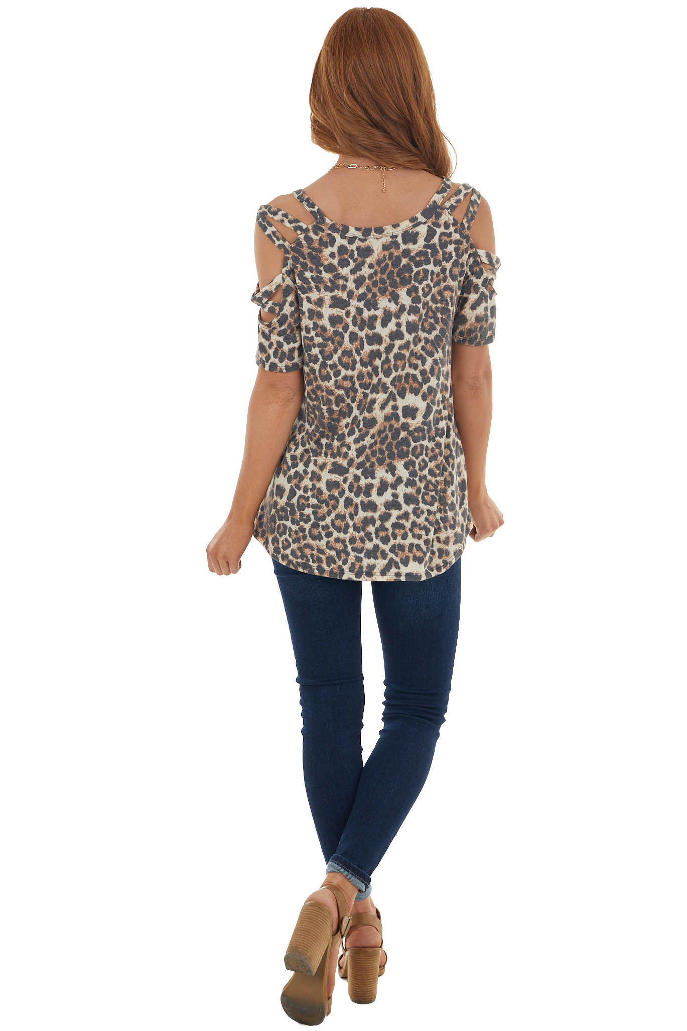 Beige Leopard Print Top with Cut Out Sleeves