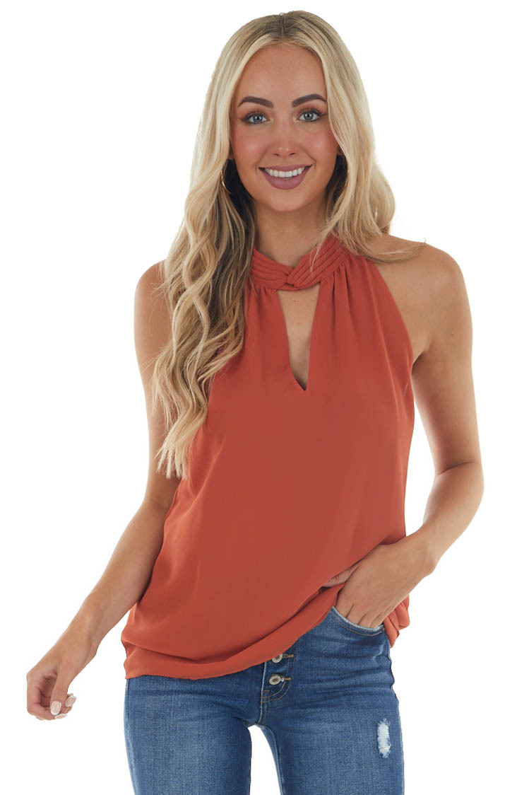 Ginger Keyhole Pleated Halter Neck Top