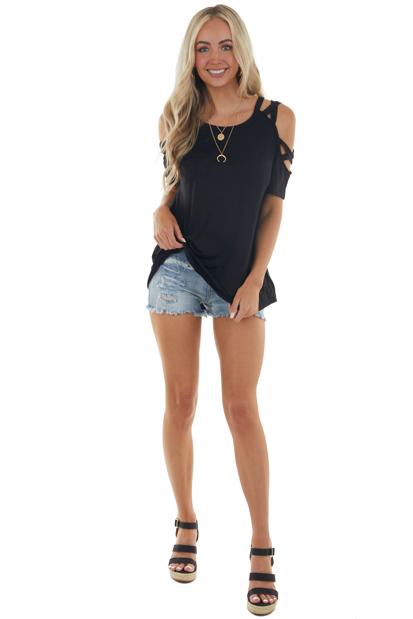 Black Knit Top with Cut Out Sleeve Details