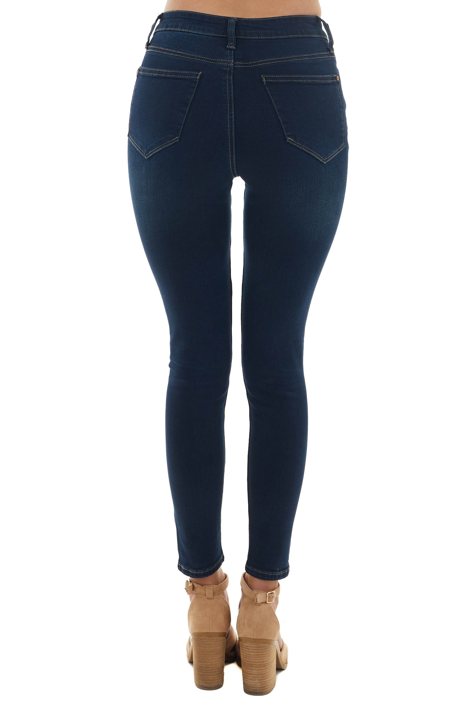 Dark Wash High Rise Button Fly Skinny Jeans