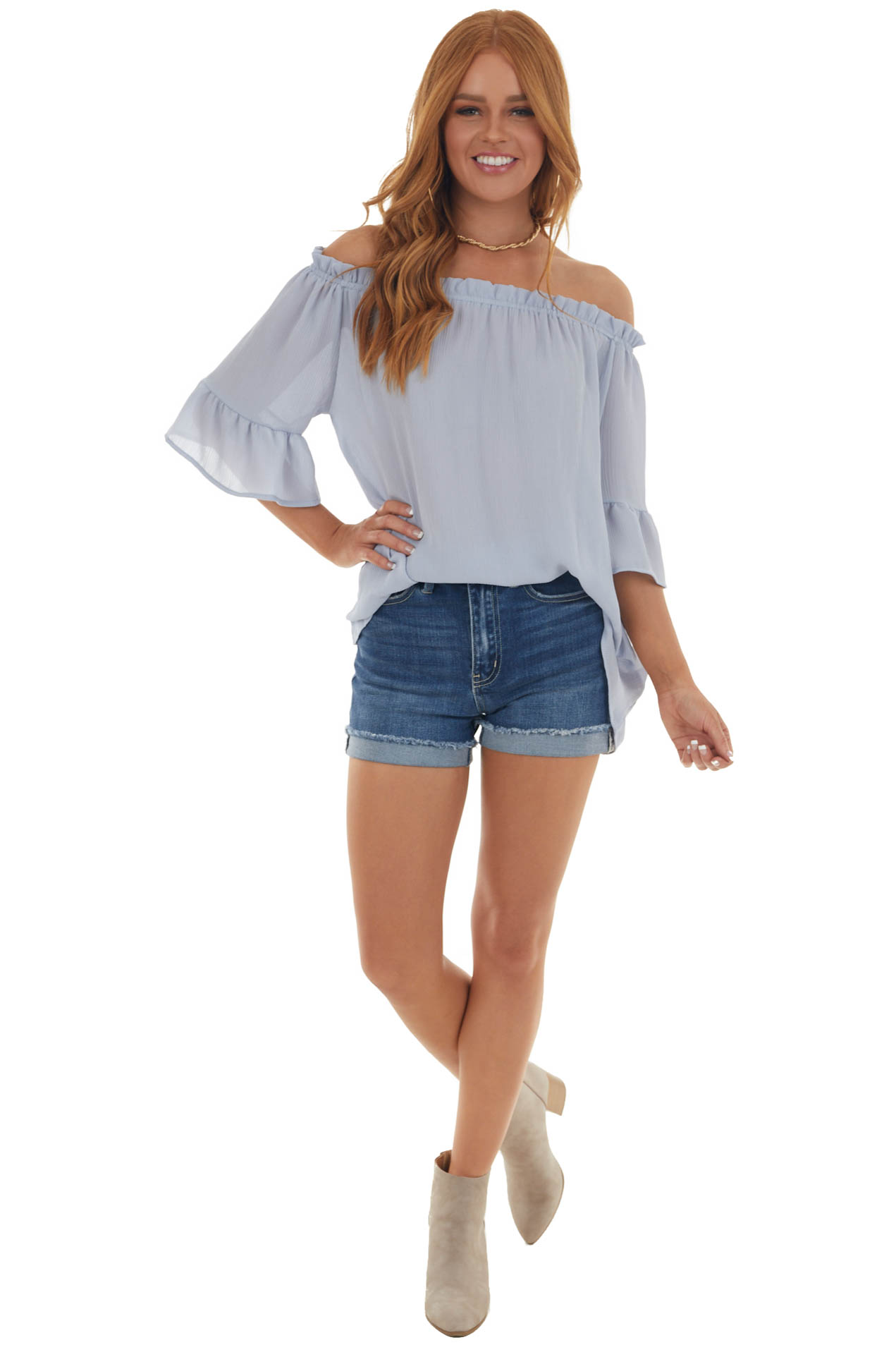 Powder Blue Off the Shoulder Ruffle Blouse