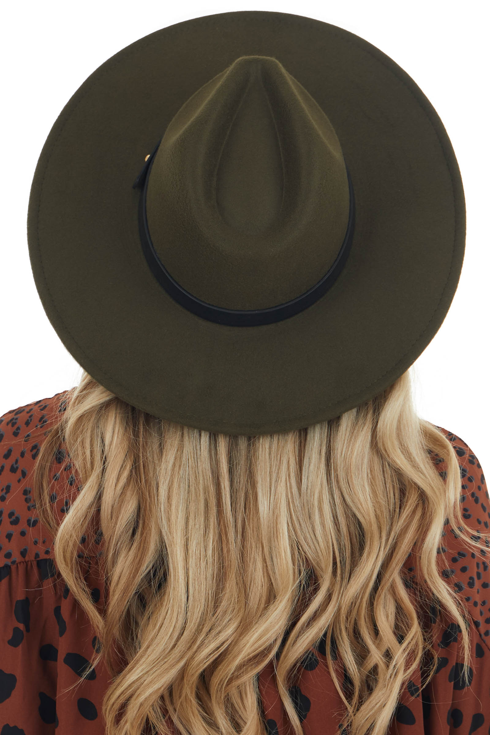 Olive Faux Wool Wide Stiff Brim Hat with Leather Trim Detail