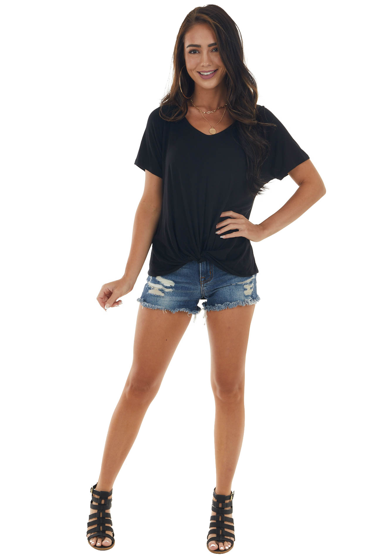 Black V Neck Knit Top with Front Twist