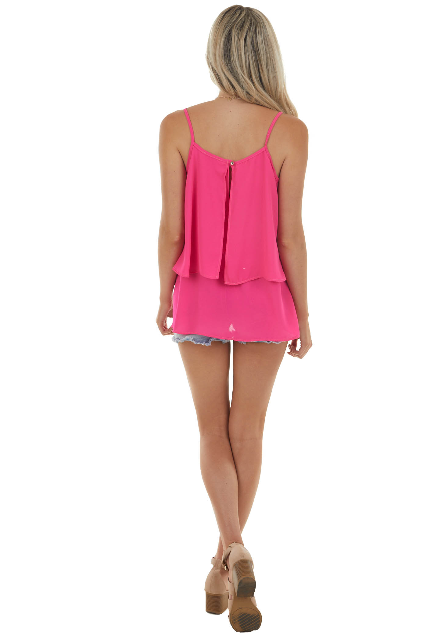 Hot Pink Double Layer Flowy Sleeveless Blouse