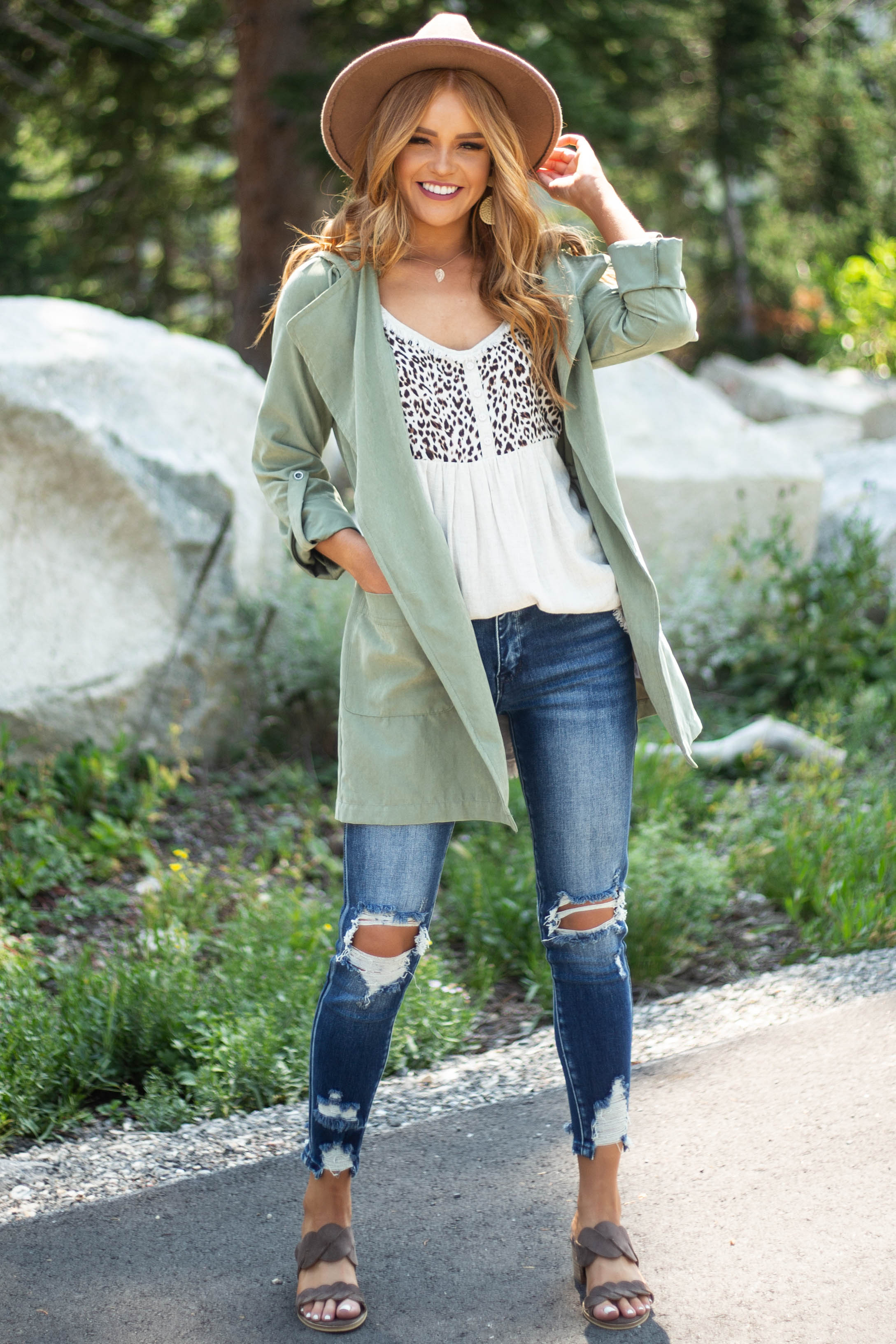 Sage Hooded Faux Suede Long Jacket with Pockets