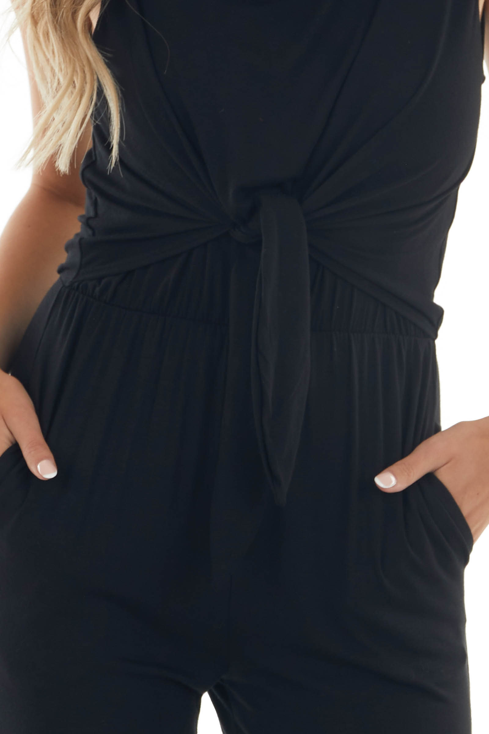 Black Front Tie Jumpsuit with Pockets