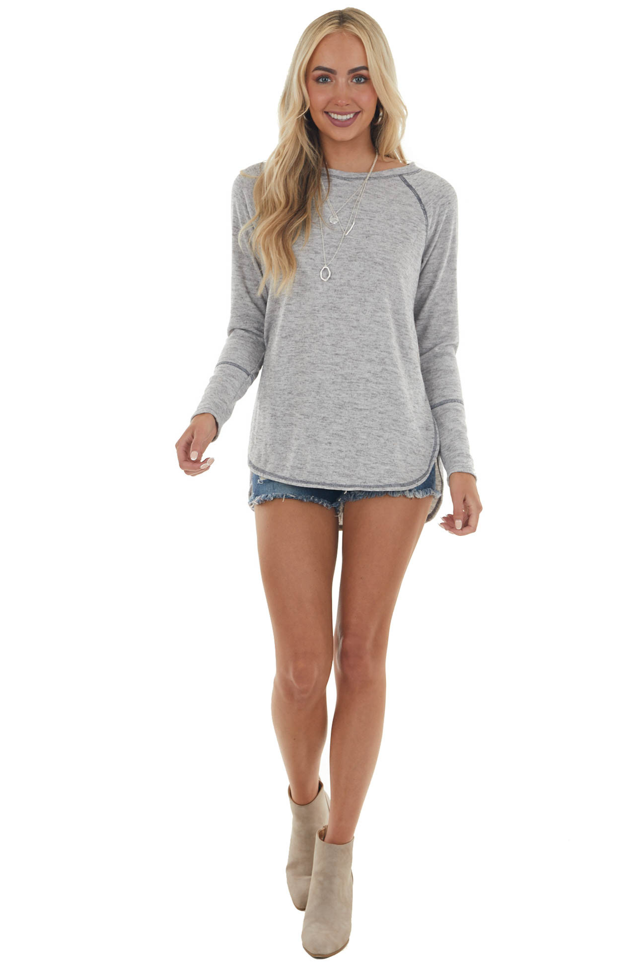 Dove Grey Soft Knit Top with Long Sleeves