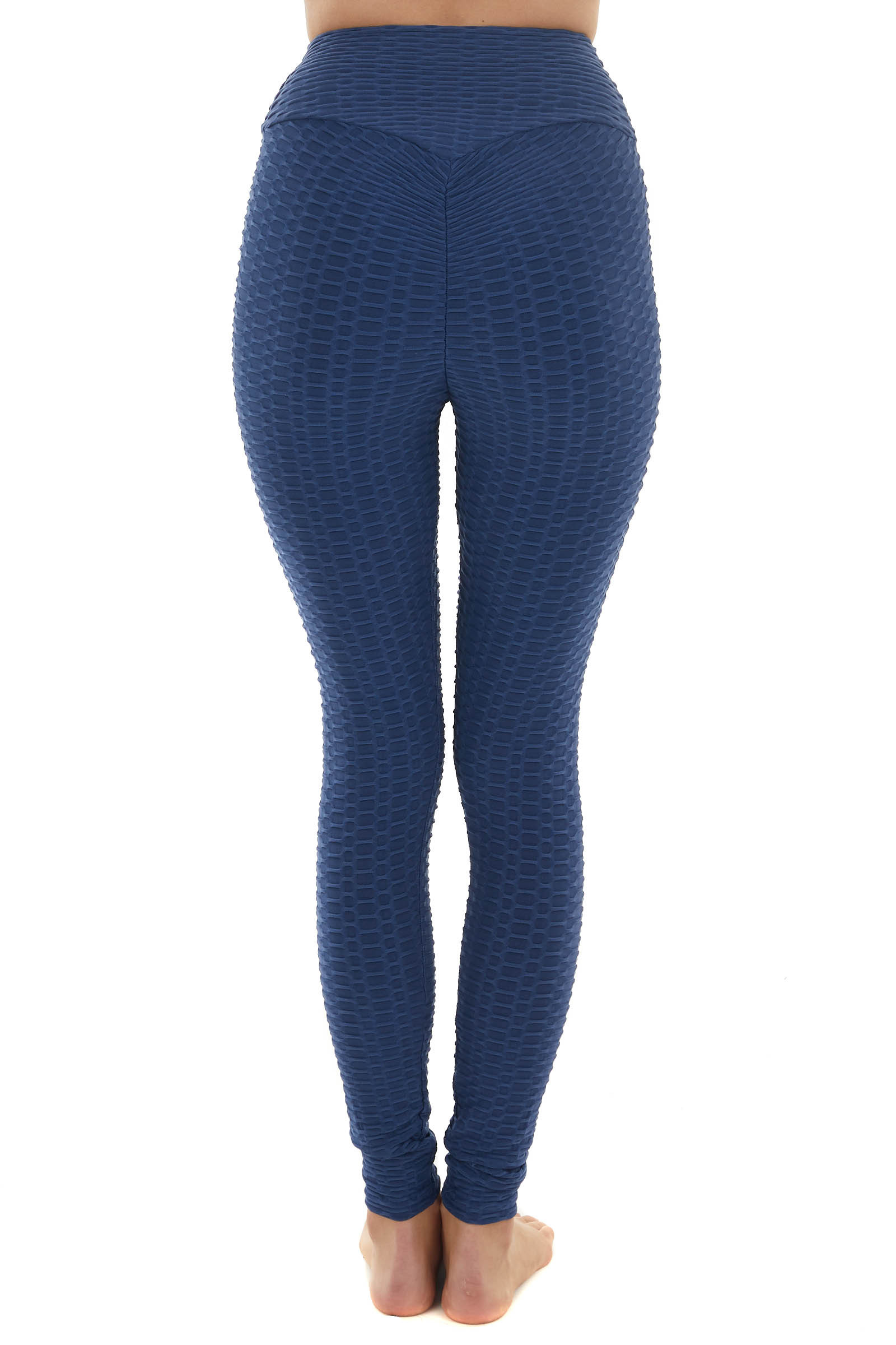 Ocean High Rise Ruched Back Textured Leggings