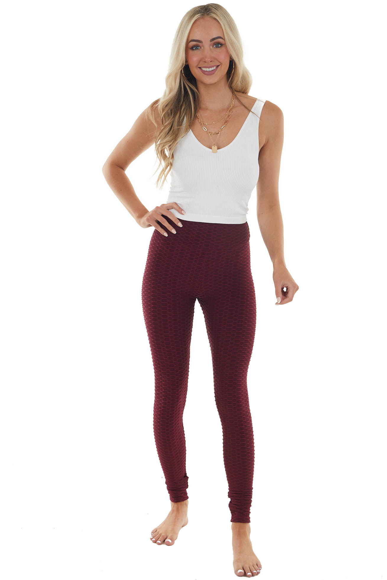 Wine High Rise Ruched Back Textured Legging