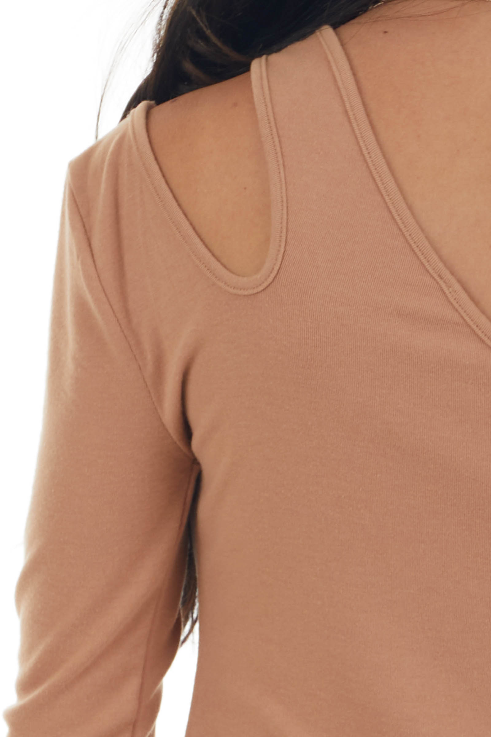 Brown Sugar One Shoulder Cut Out Knit Top