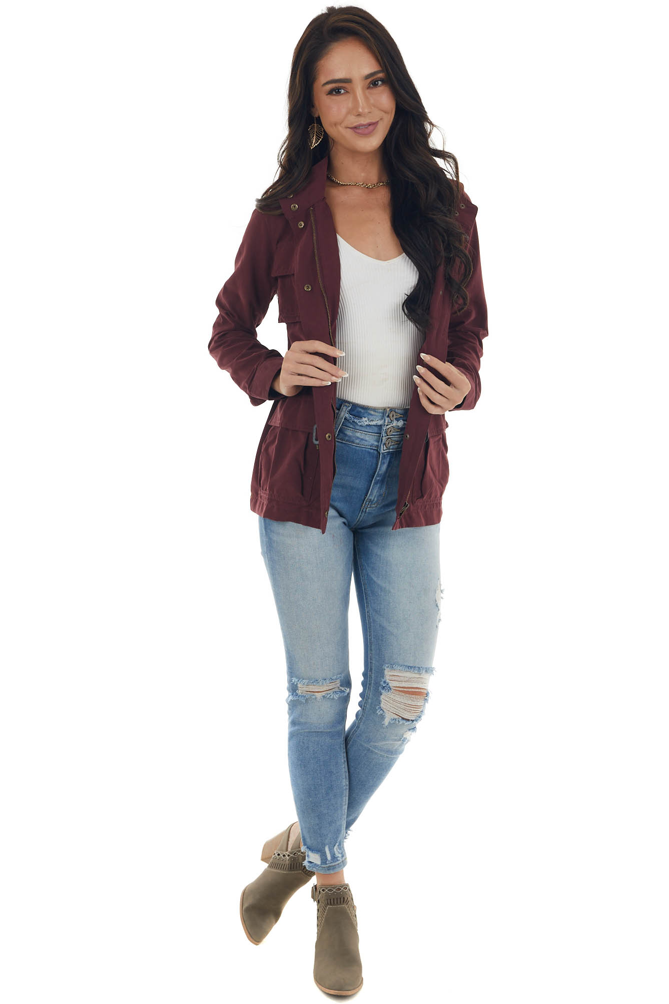 Wine Jacket with Waist Tie and Pockets