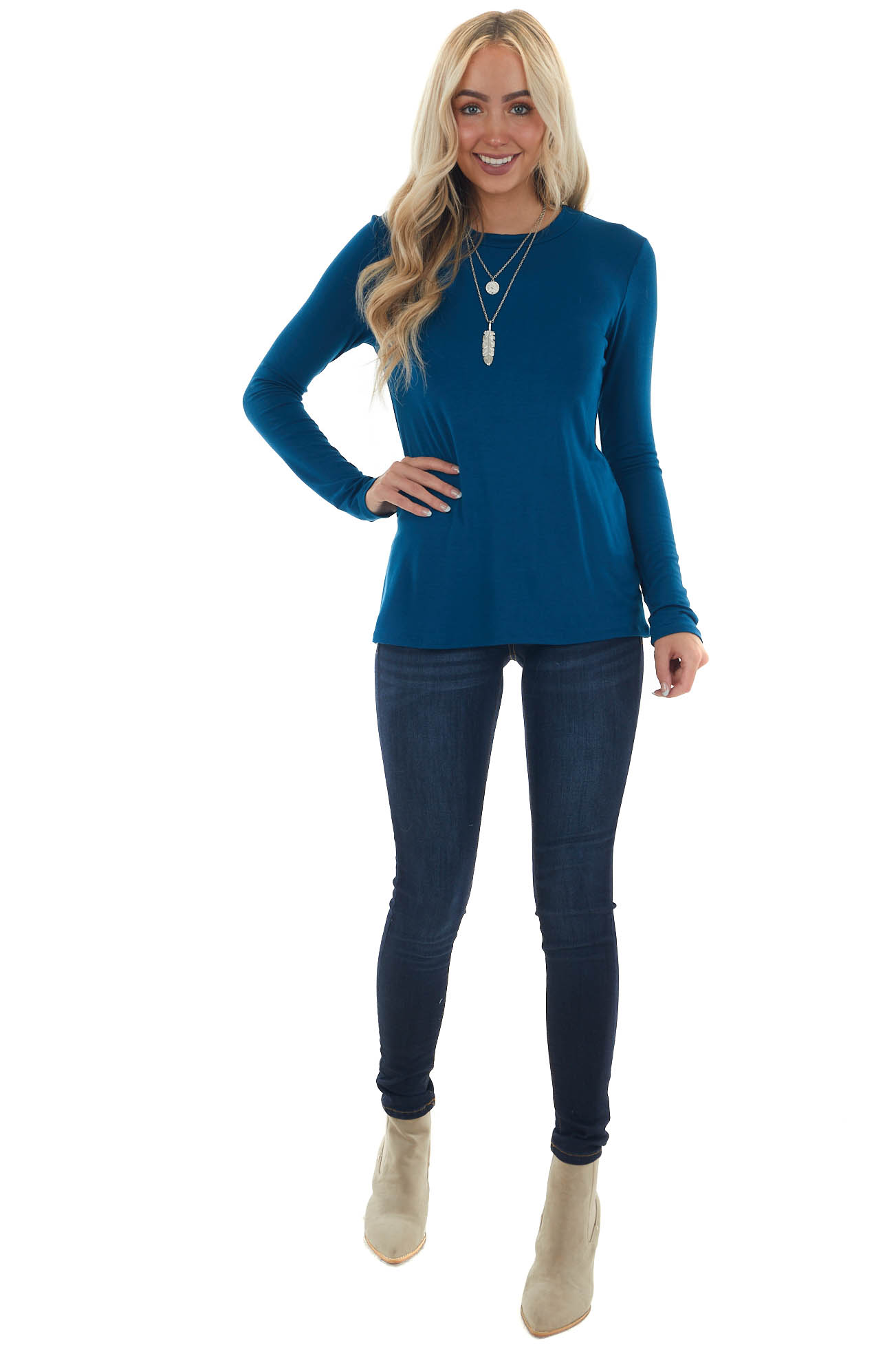 Sea Blue Laser Cut Out Back Long Sleeve Top