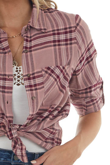 Dusty Rose Plaid Double Chest Pocket Flannel