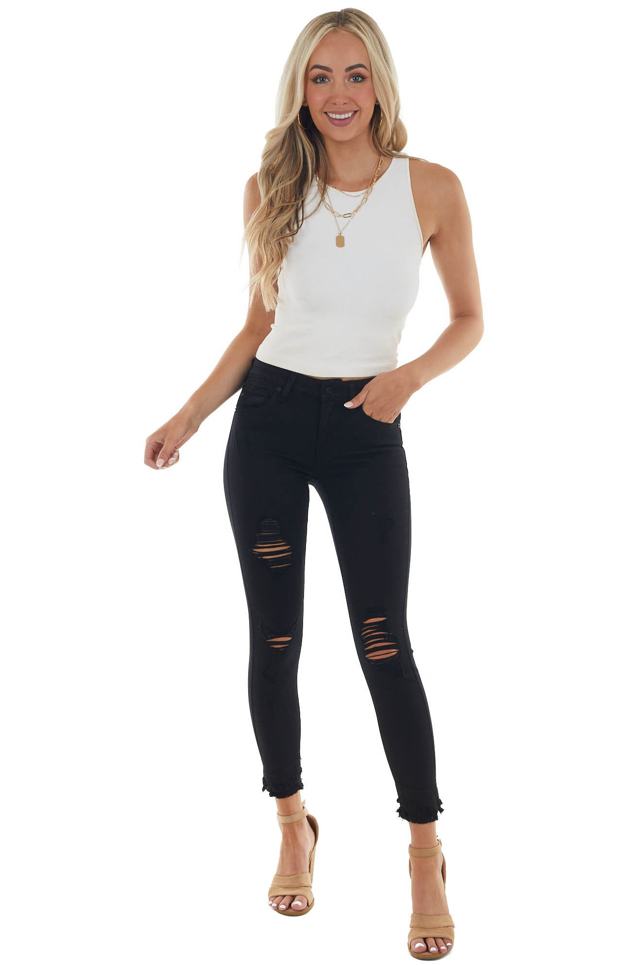 Black Distressed Mid Rise Skinny Jeans with Frayed Hem