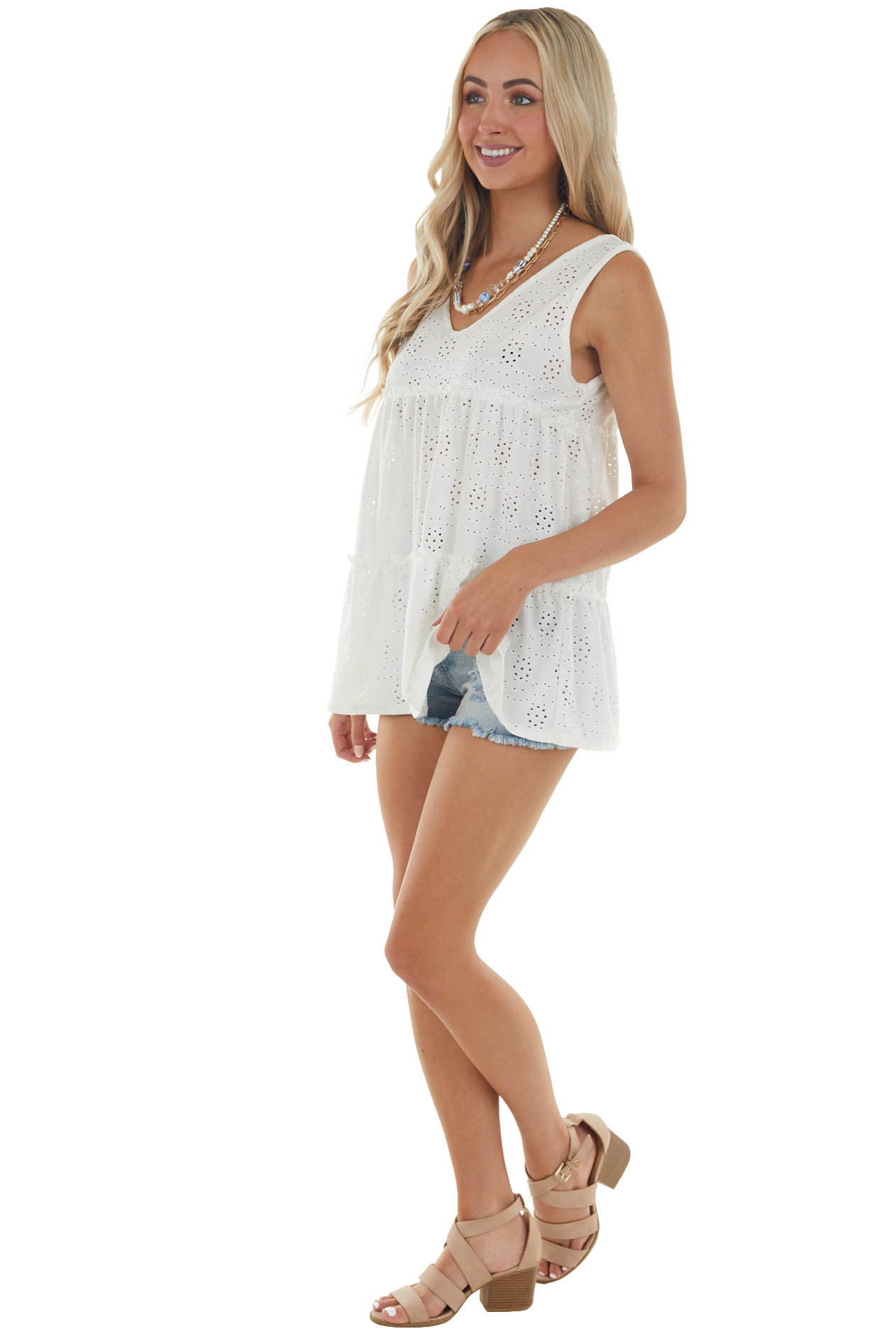 Ivory Eyelet Lace Tiered Sleeveless Top