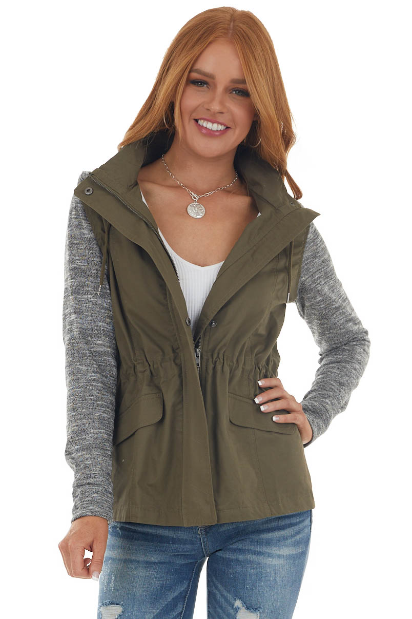 Dark Olive Hooded Jacket with Knit Contrast