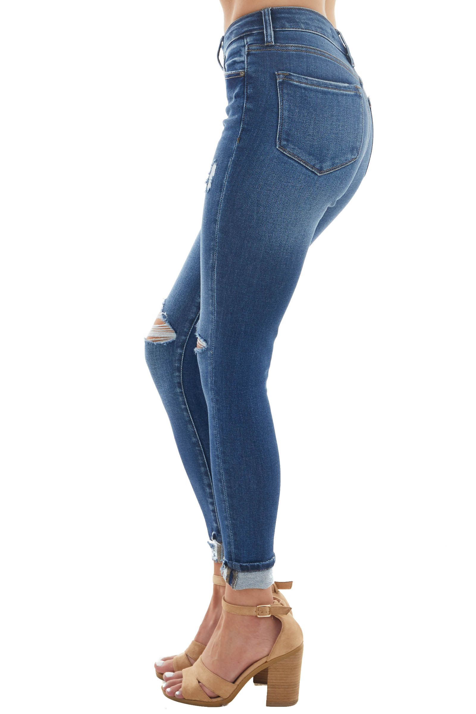 Medium Wash High Rise Button Fly Skinny Jeans