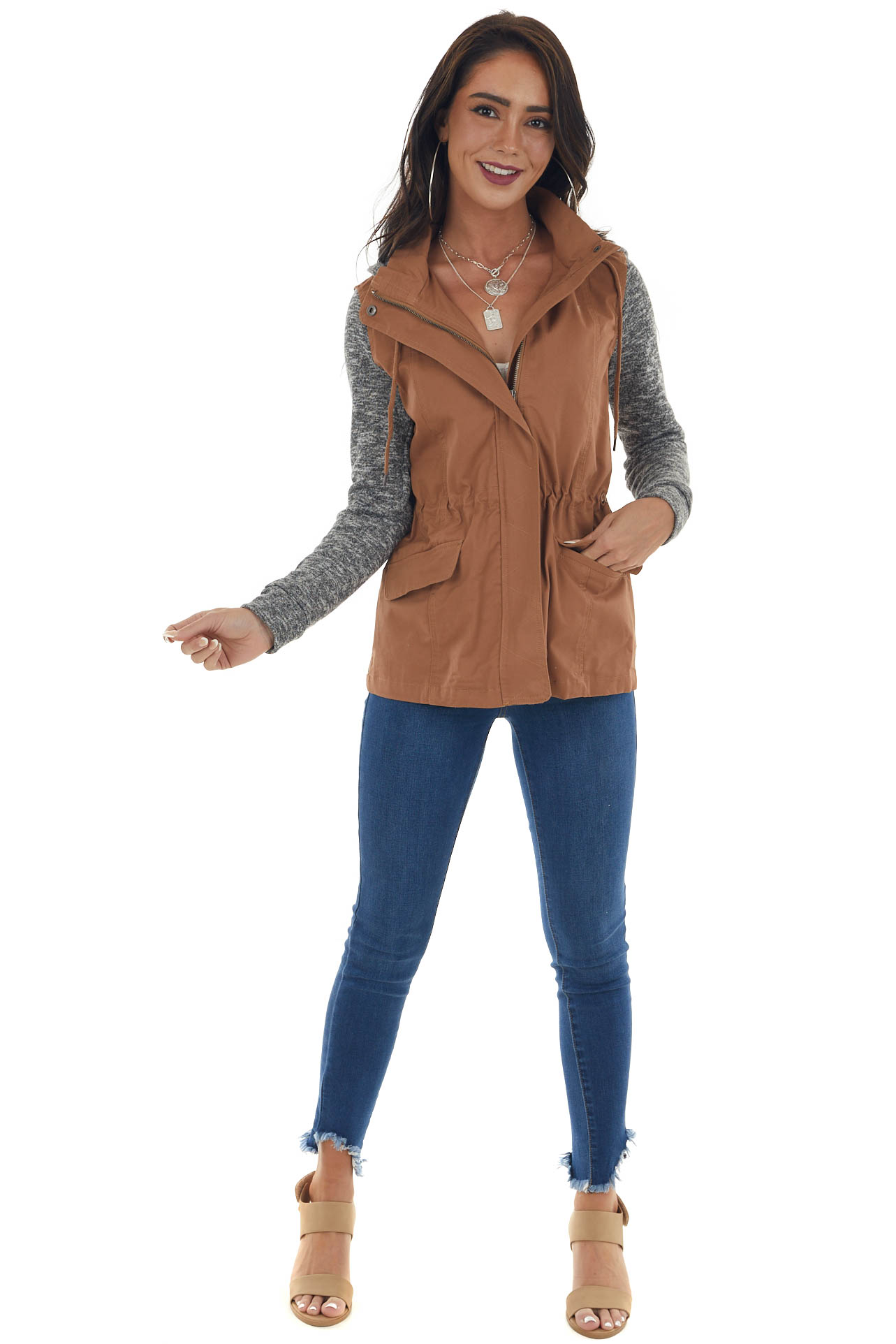 Cognac Hooded Jacket with Knit Contrast