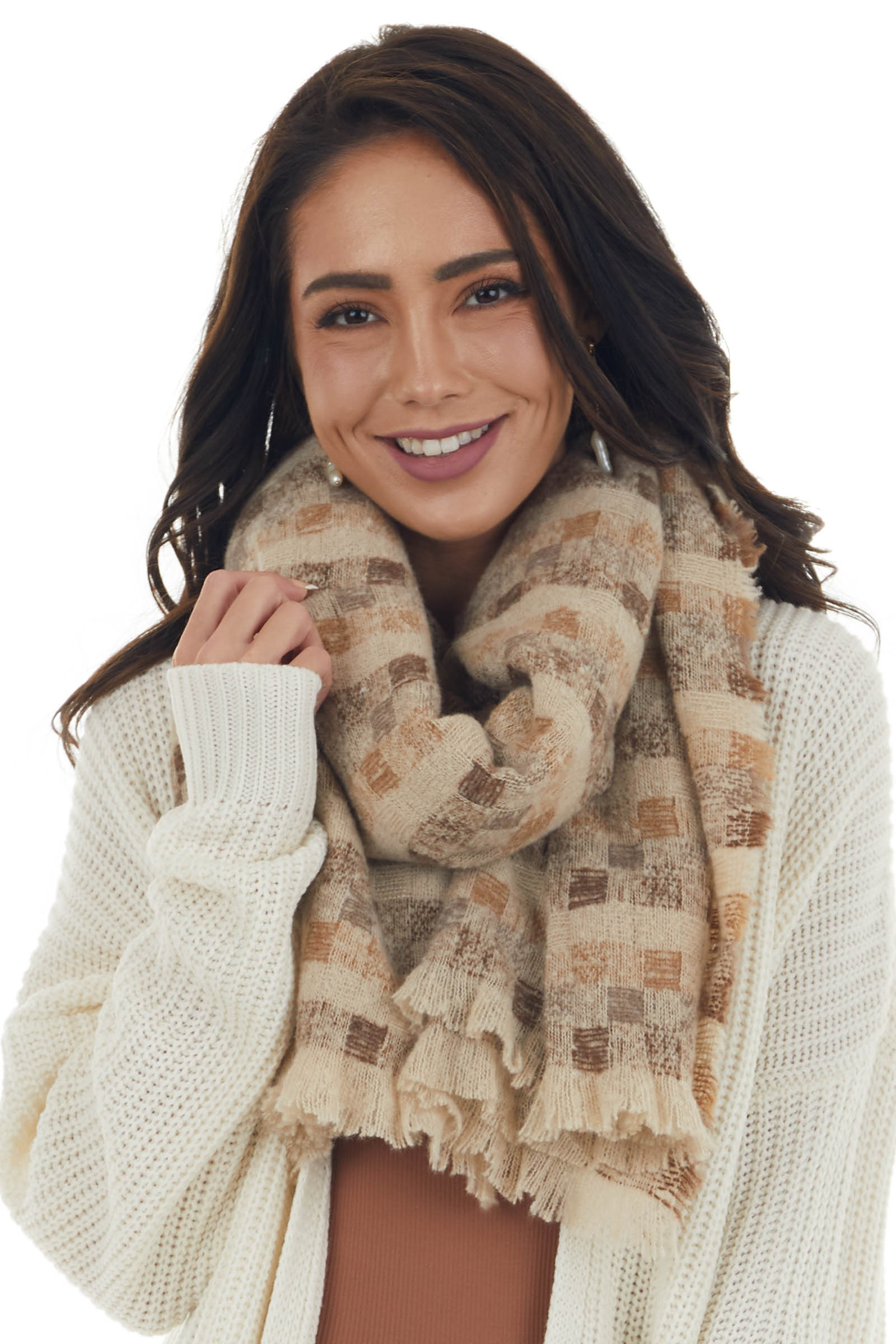 Latte Checkered Oblong Scarf with Frayed Edges