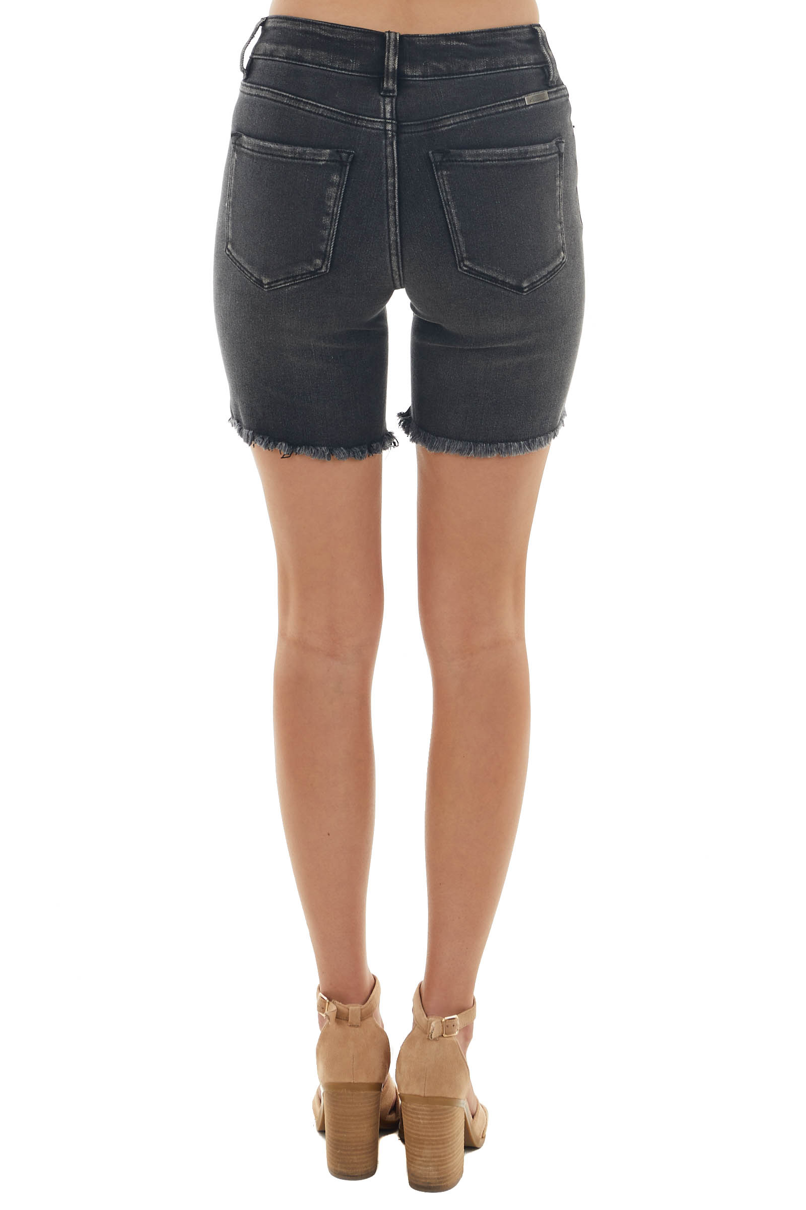 Heathered Black Distressed Stretchy Shorts