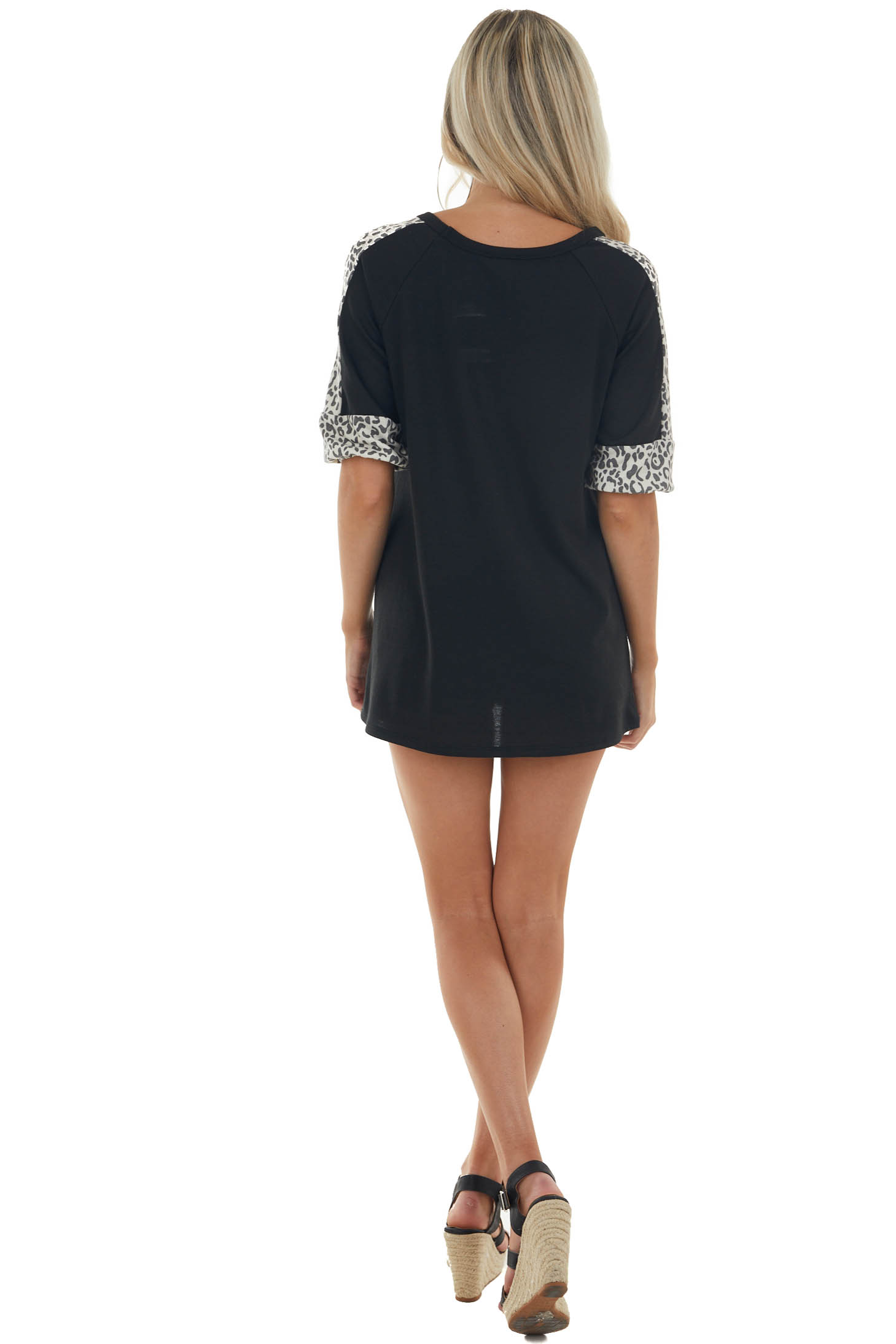 Black and Leopard Contrast Half Sleeve Top
