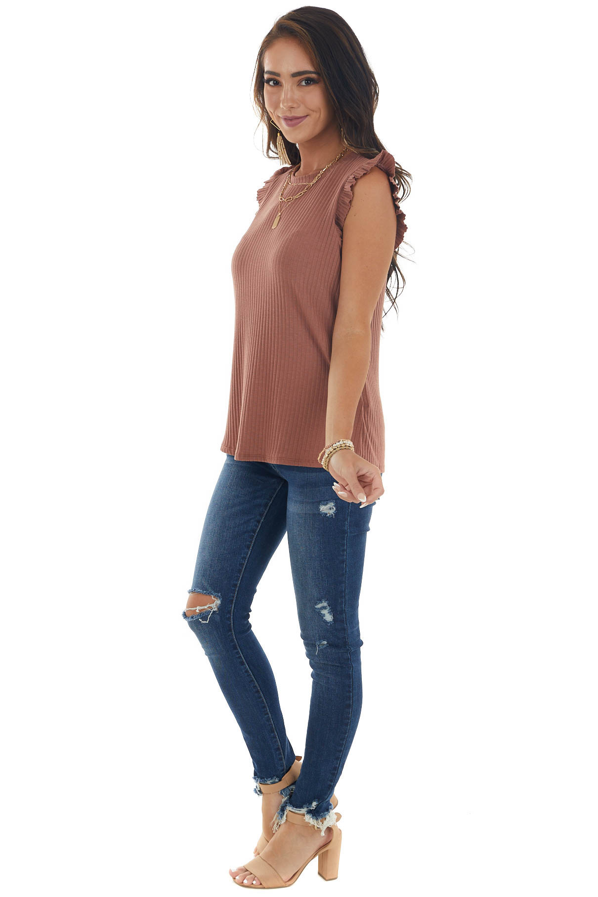 Chestnut Sleeveless Ribbed Top with Ruffles