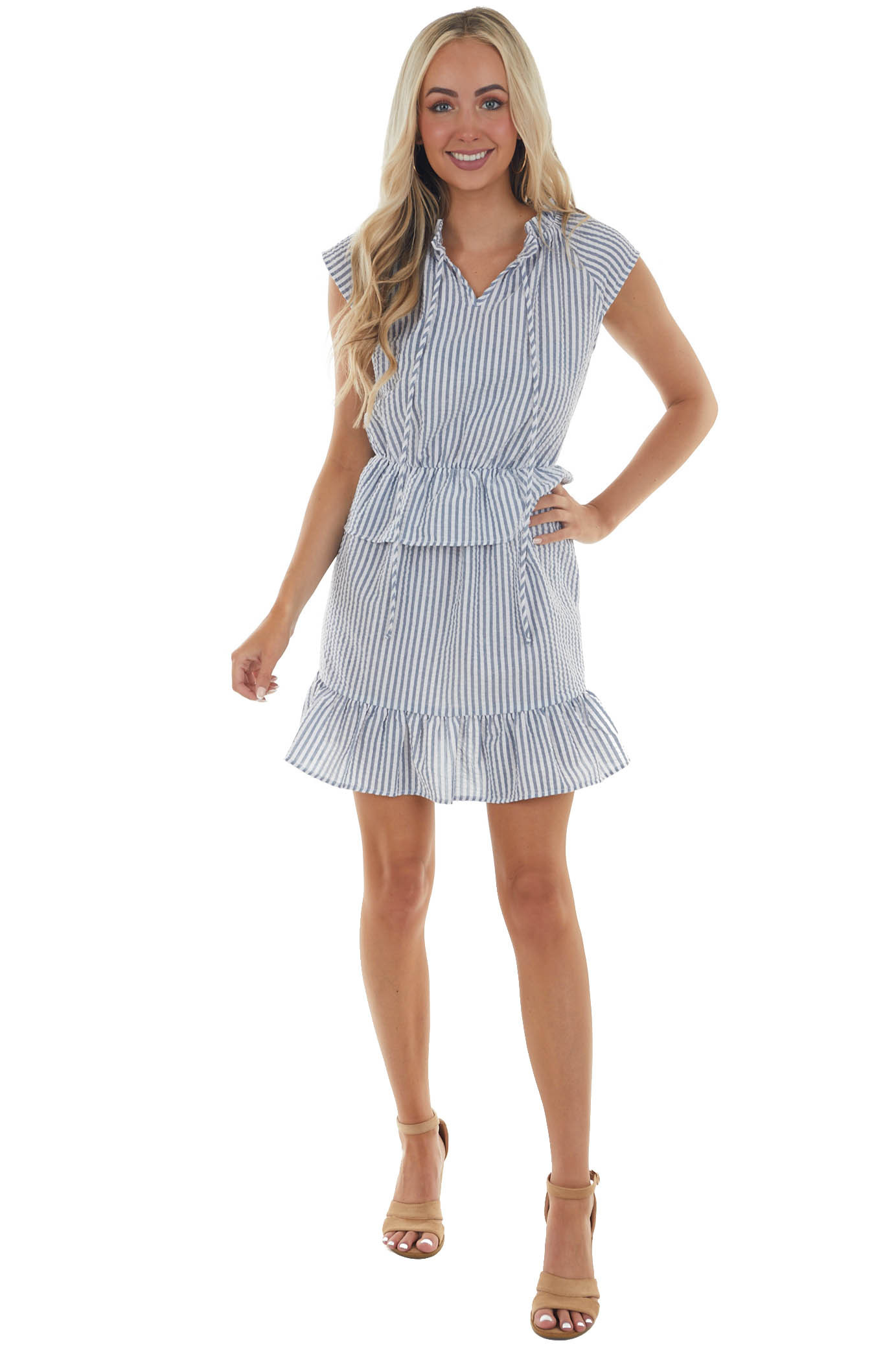 Navy and Off White Striped Tiered Tunic Dress