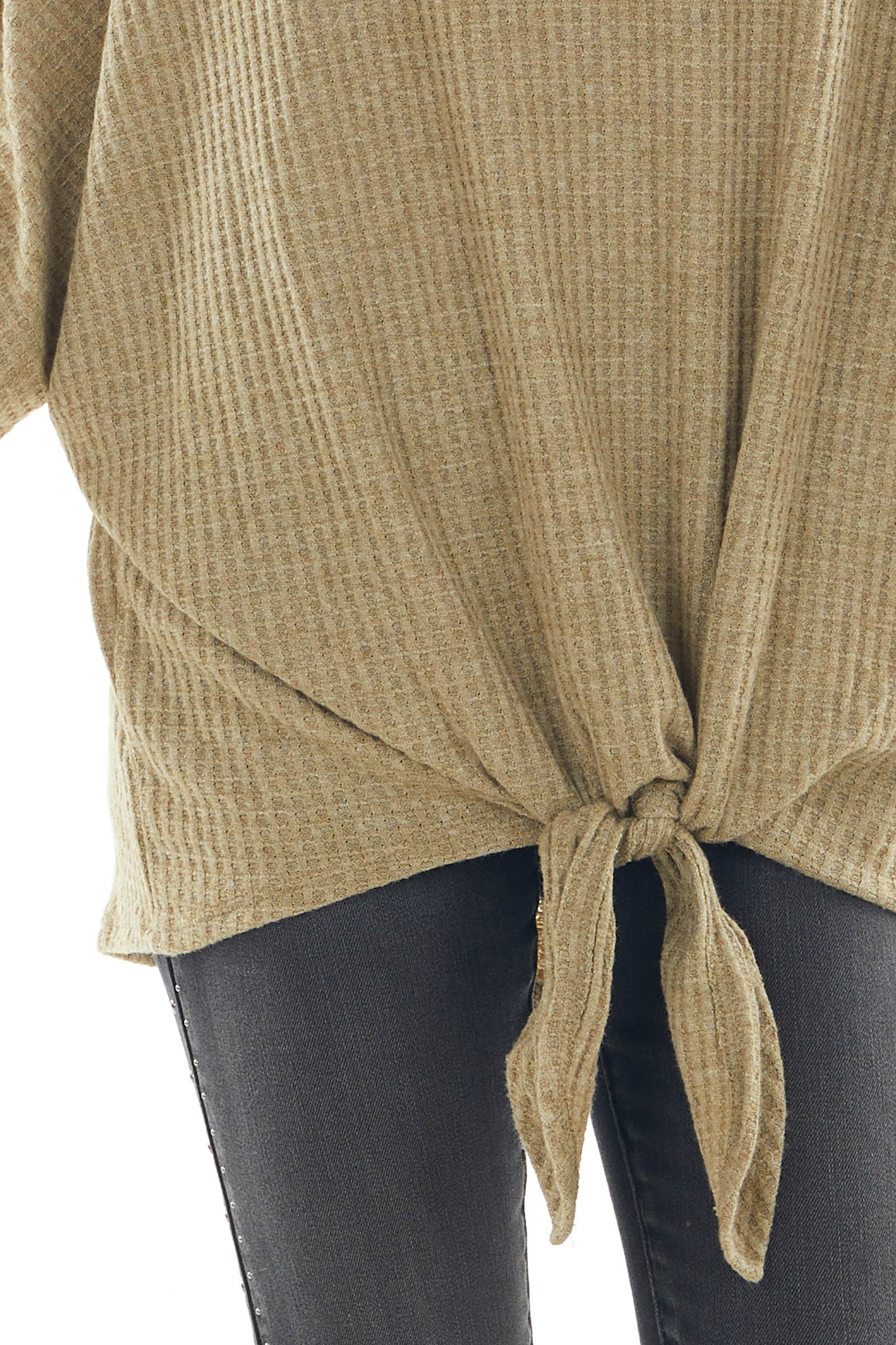 Faded Olive Waffle Knit Boat Neck Top with Tie