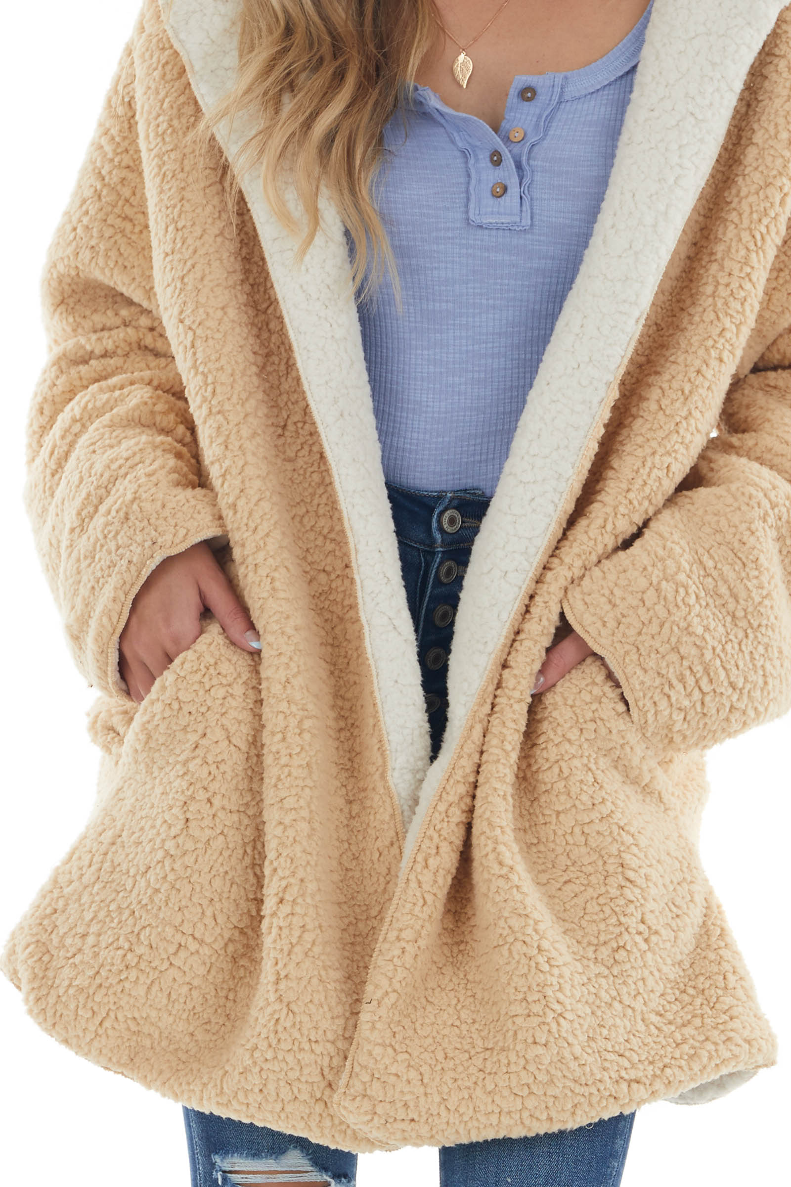 Sand and Ivory Reversible Soft Sherpa Coat