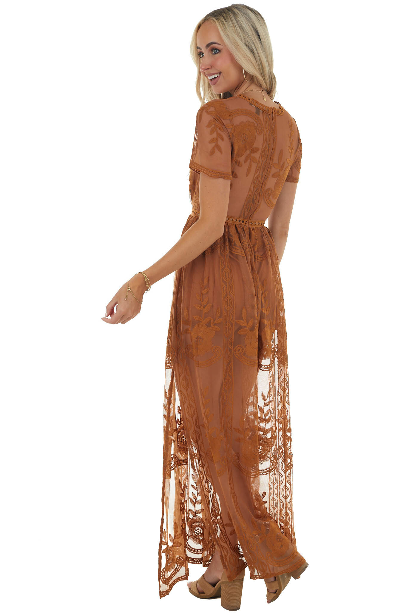 Caramel Lace V Neck Romper with Maxi Overlay