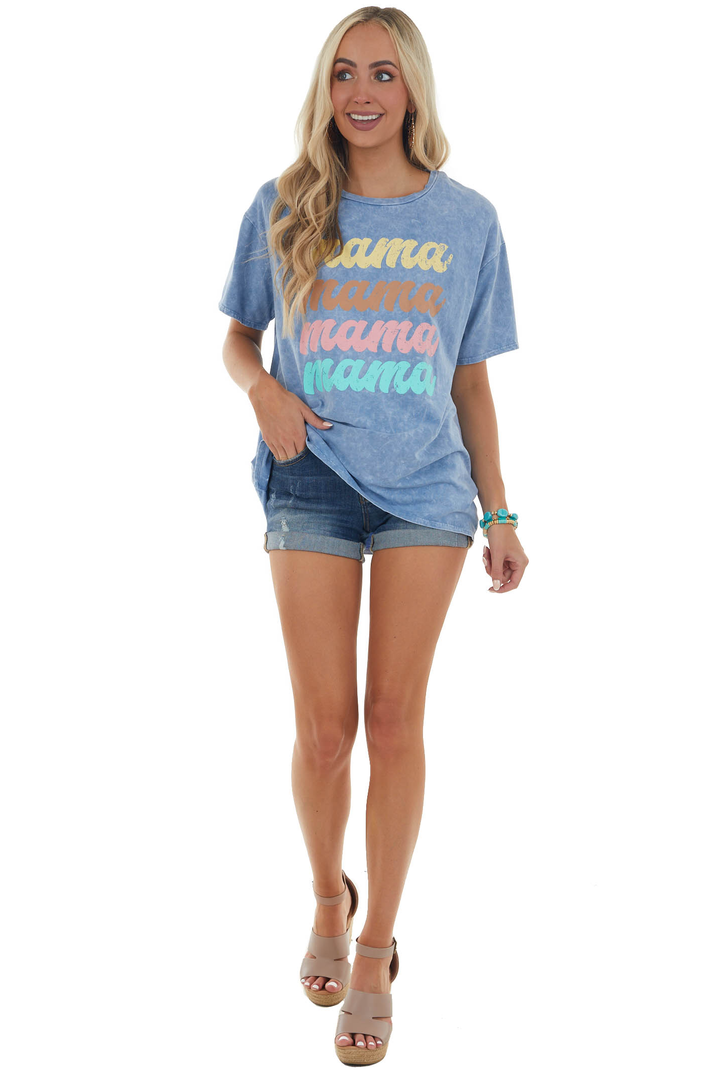 Steel Blue Mineral Wash 'Mama' Graphic Tee