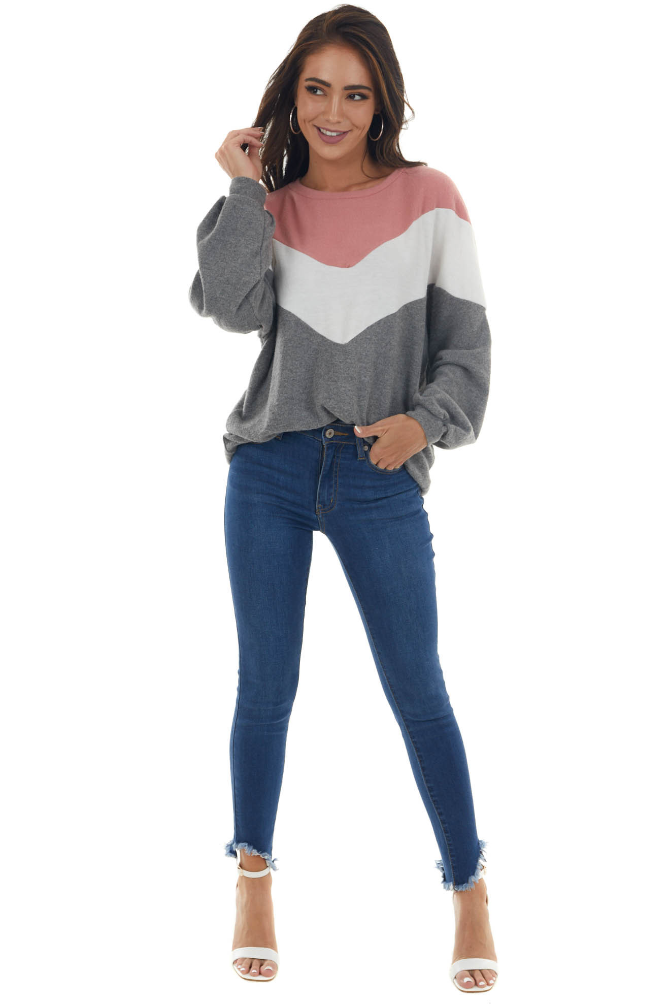 Steel Grey Chevron Colorblock Brushed Knit Top