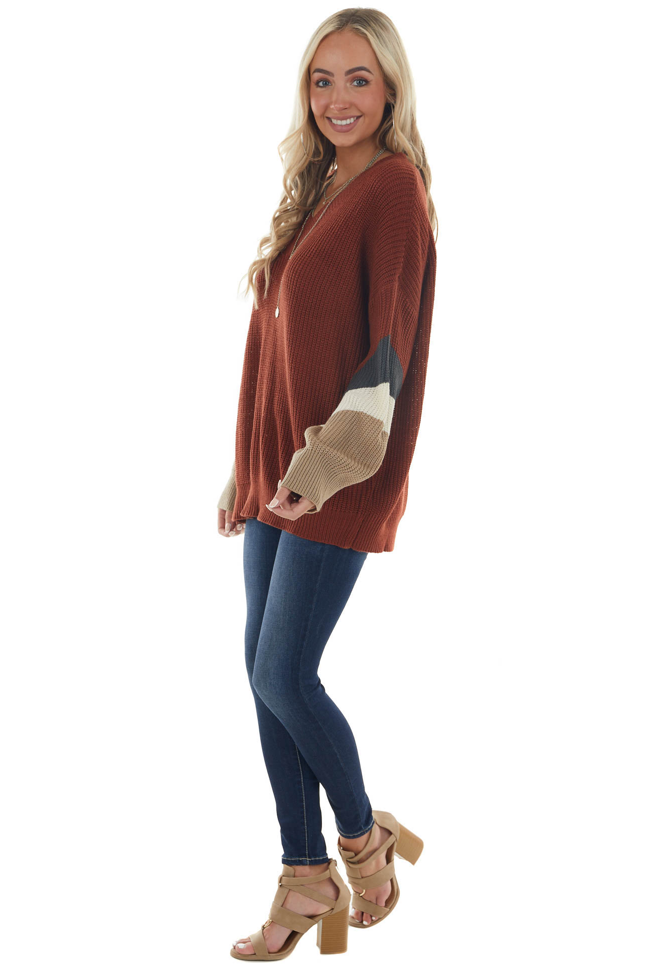 Sienna Red Sweater with Colorblock Sleeves